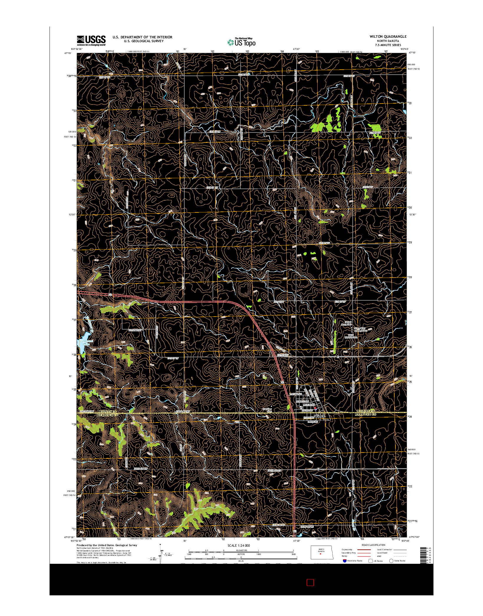 USGS US TOPO 7.5-MINUTE MAP FOR WILTON, ND 2014