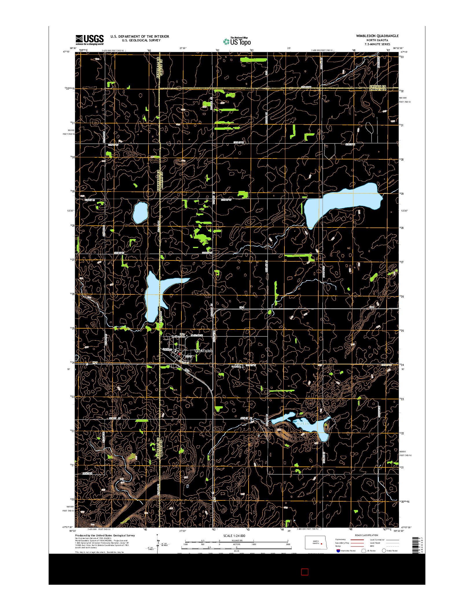 USGS US TOPO 7.5-MINUTE MAP FOR WIMBLEDON, ND 2014