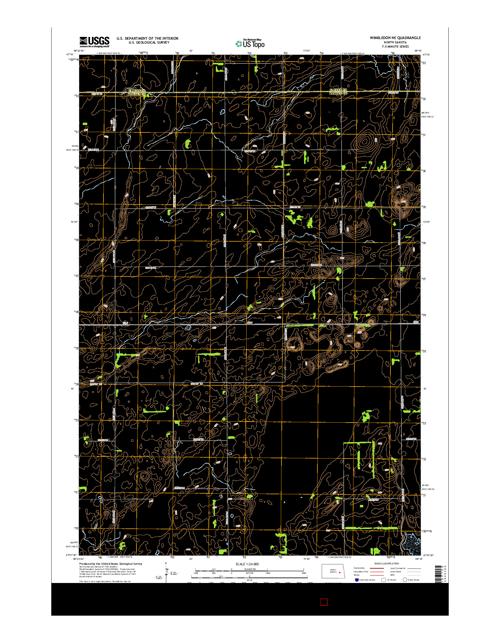 USGS US TOPO 7.5-MINUTE MAP FOR WIMBLEDON NE, ND 2014