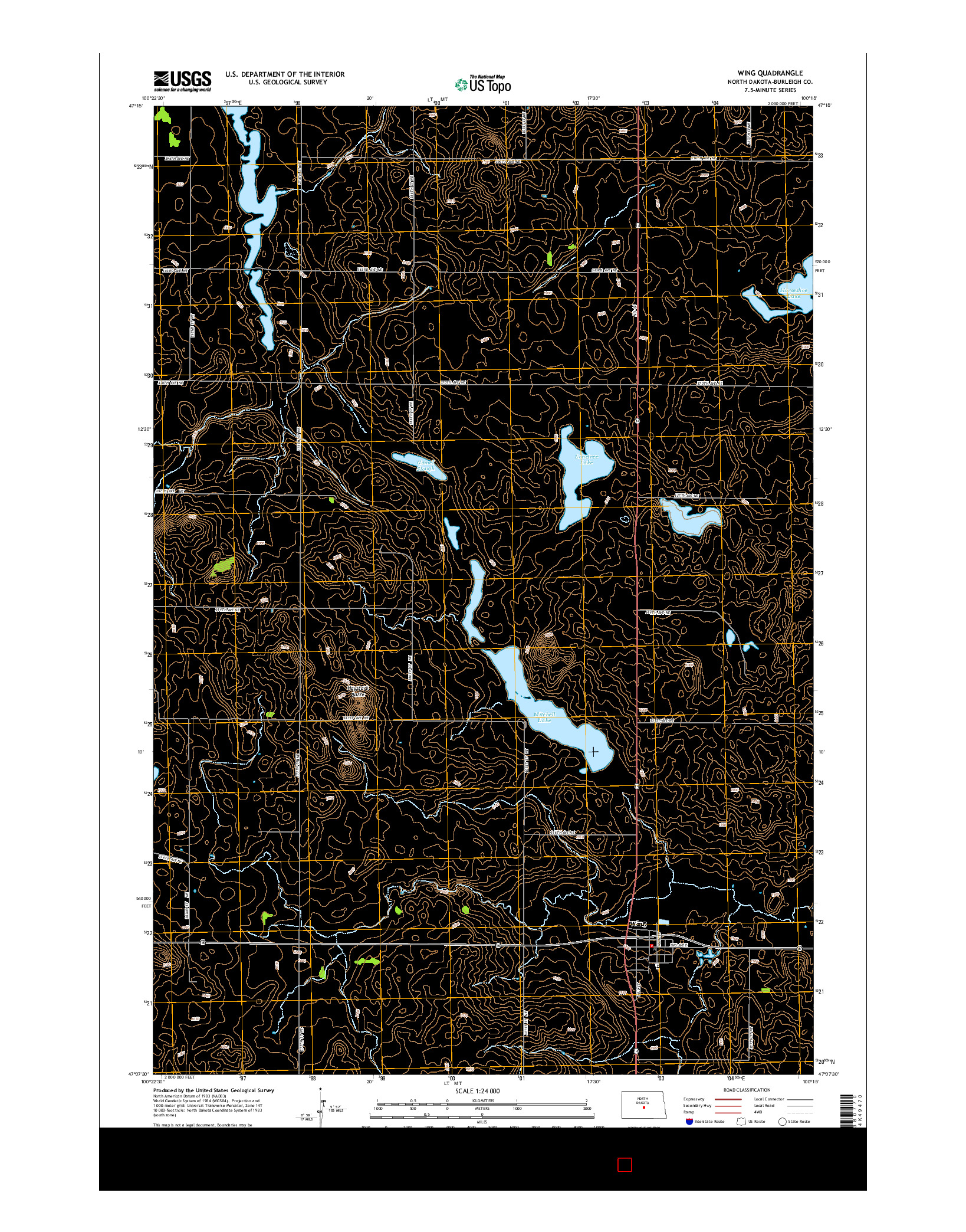 USGS US TOPO 7.5-MINUTE MAP FOR WING, ND 2014