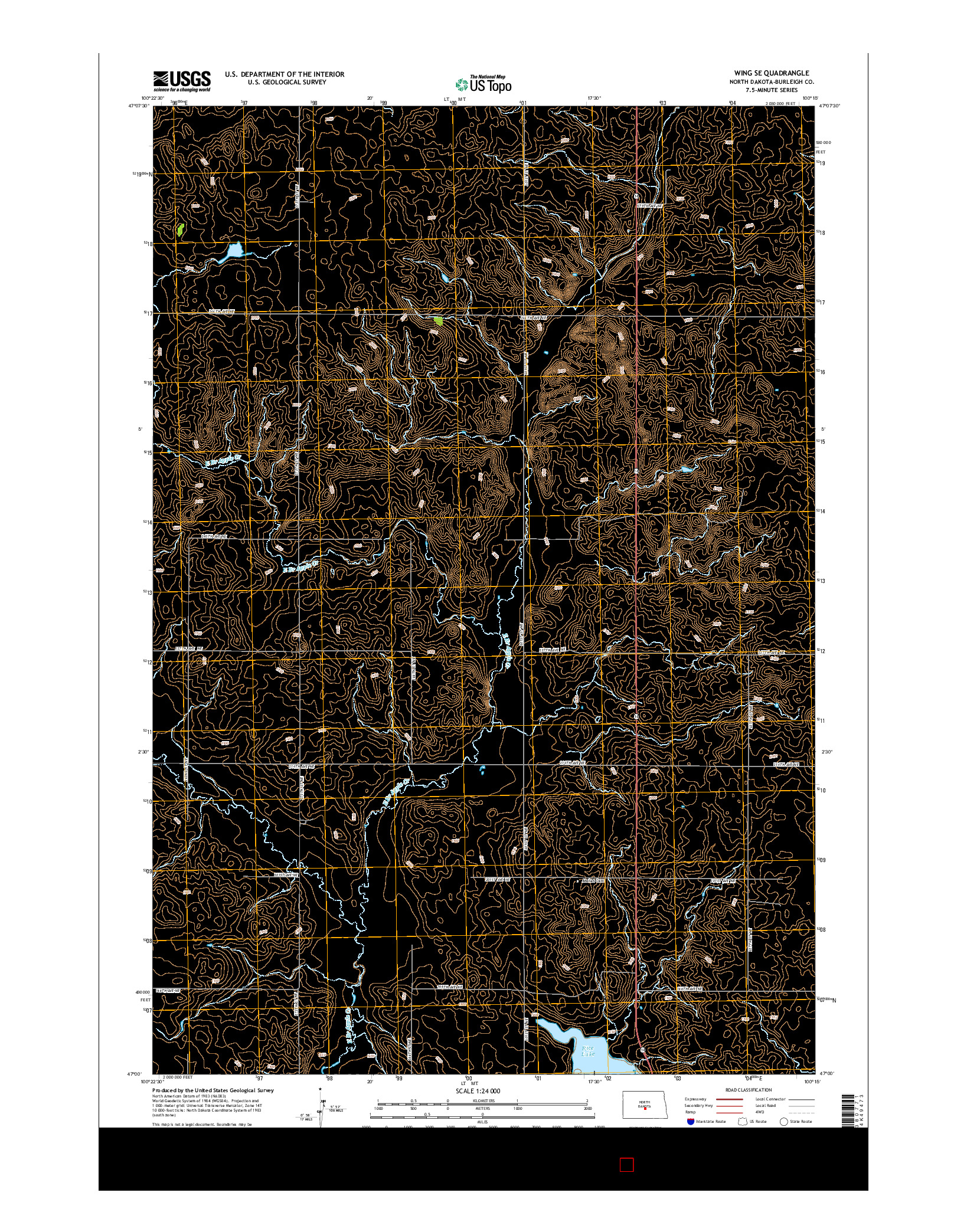 USGS US TOPO 7.5-MINUTE MAP FOR WING SE, ND 2014