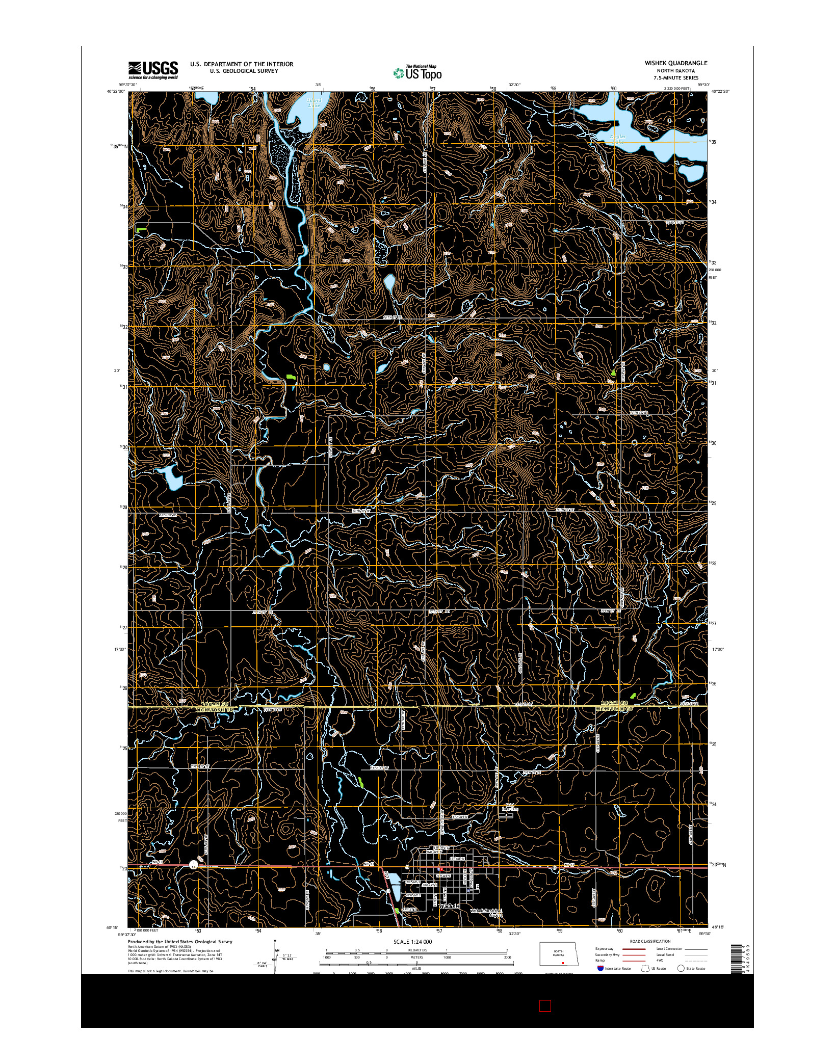 USGS US TOPO 7.5-MINUTE MAP FOR WISHEK, ND 2014