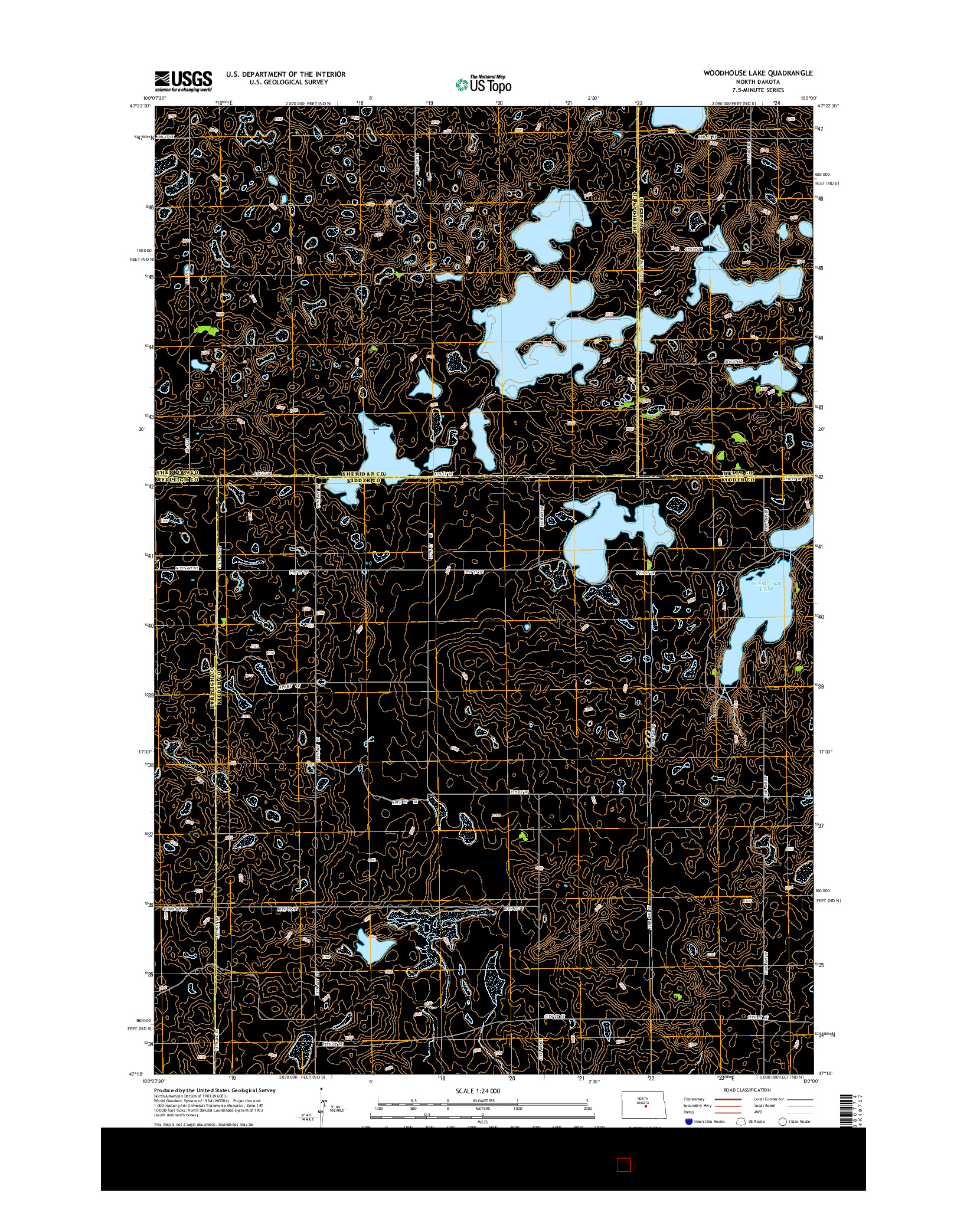 USGS US TOPO 7.5-MINUTE MAP FOR WOODHOUSE LAKE, ND 2014