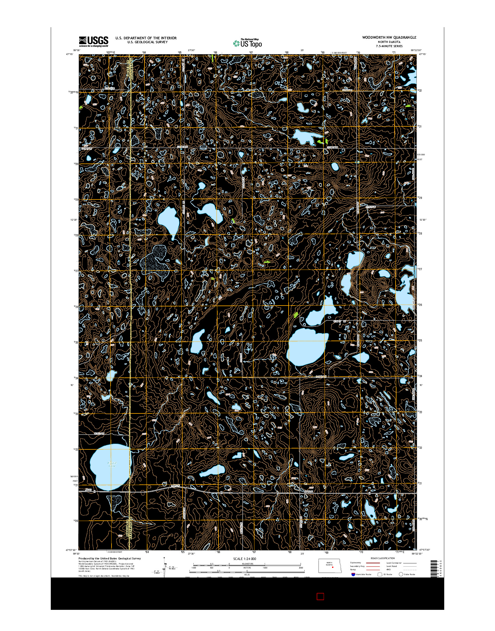 USGS US TOPO 7.5-MINUTE MAP FOR WOODWORTH NW, ND 2014
