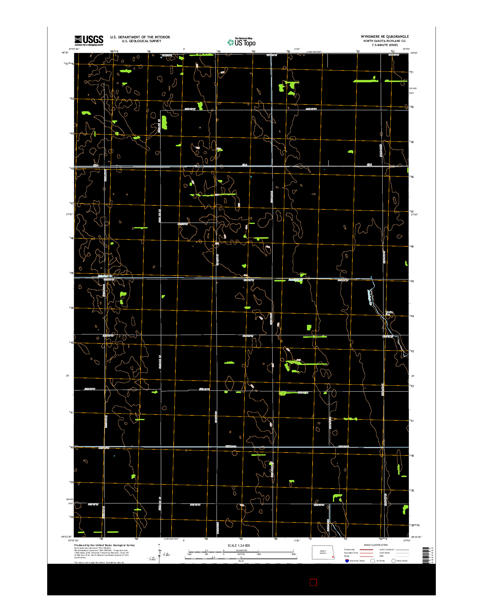 USGS US TOPO 7.5-MINUTE MAP FOR WYNDMERE NE, ND 2014