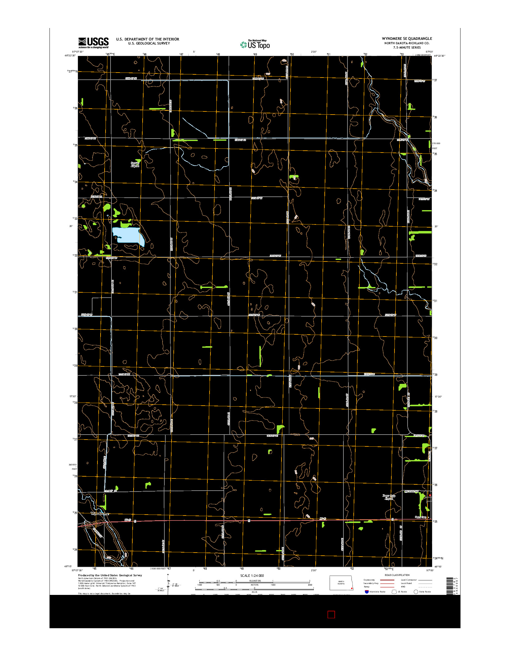 USGS US TOPO 7.5-MINUTE MAP FOR WYNDMERE SE, ND 2014