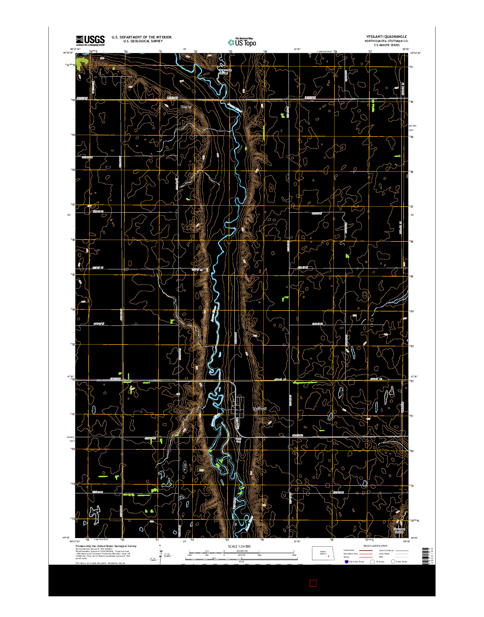 USGS US TOPO 7.5-MINUTE MAP FOR YPSILANTI, ND 2014