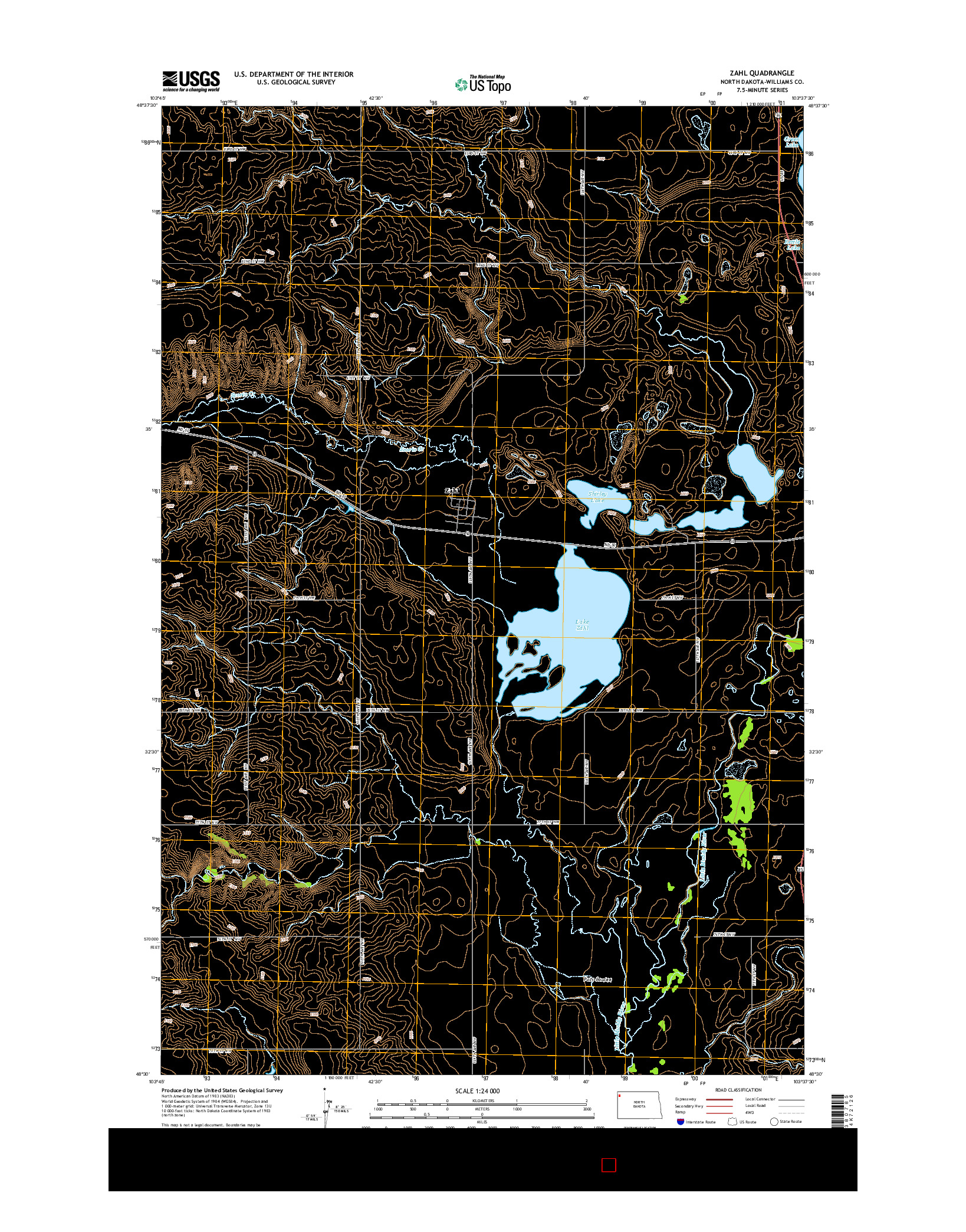 USGS US TOPO 7.5-MINUTE MAP FOR ZAHL, ND 2014