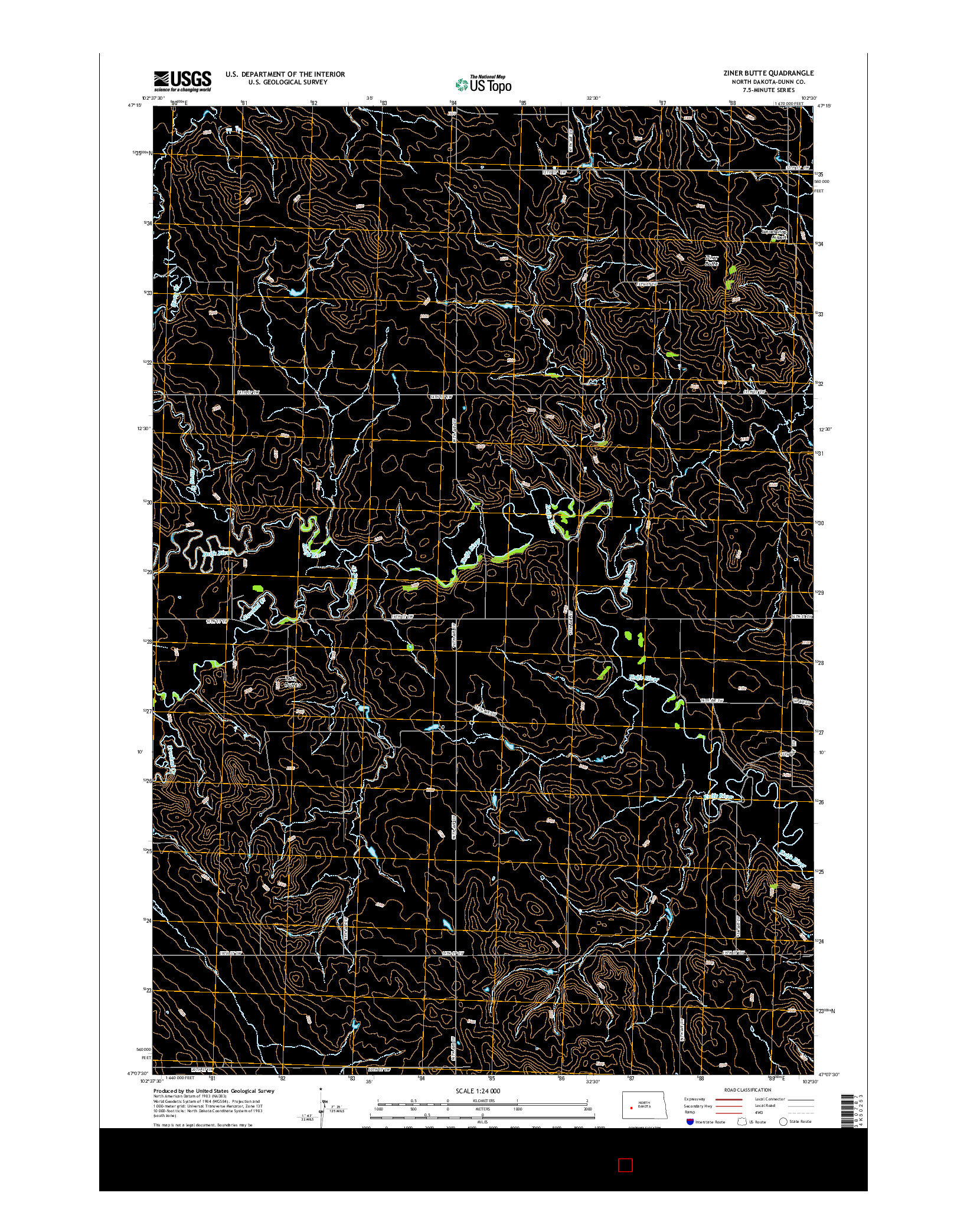 USGS US TOPO 7.5-MINUTE MAP FOR ZINER BUTTE, ND 2014