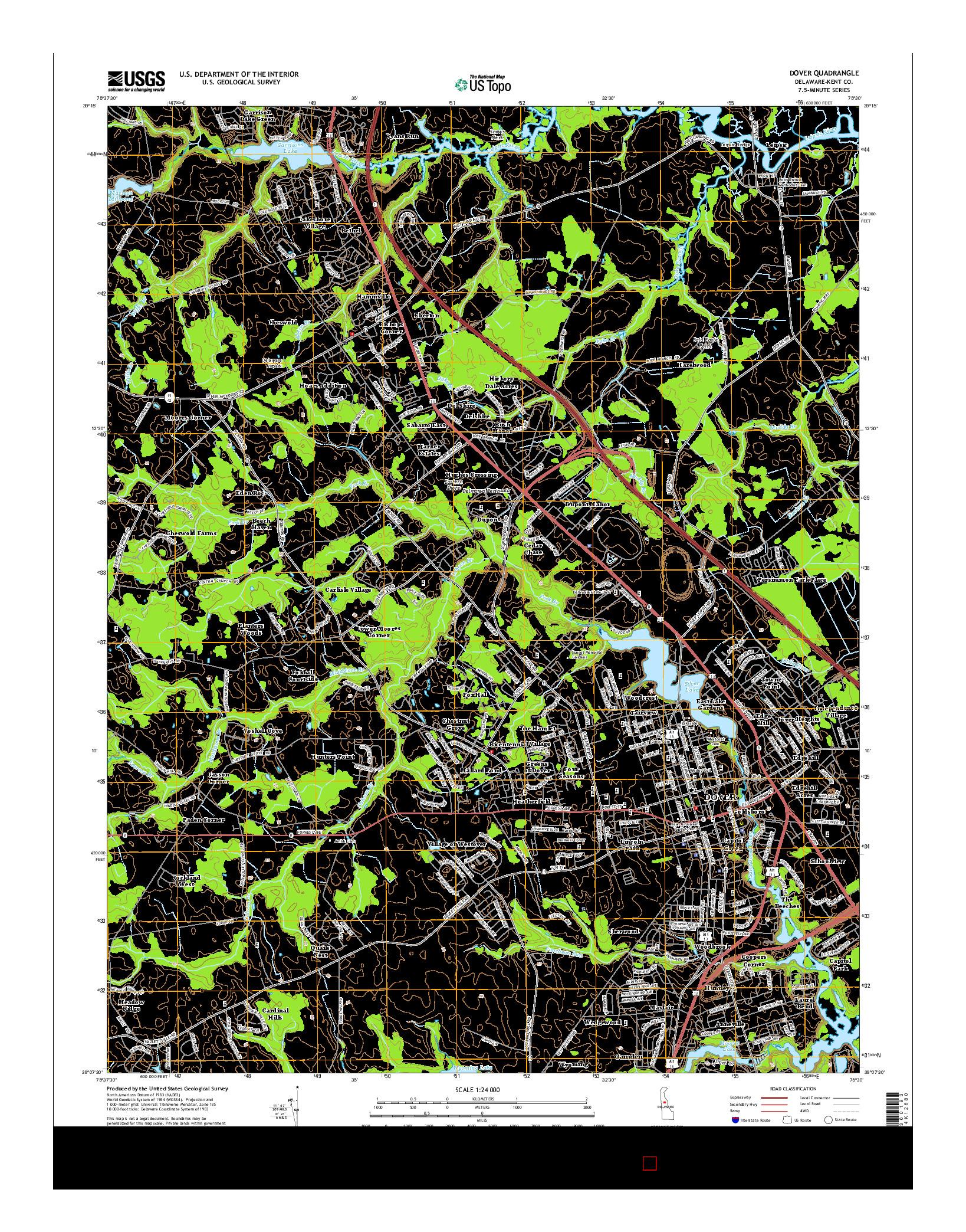 USGS US TOPO 7.5-MINUTE MAP FOR DOVER, DE 2014
