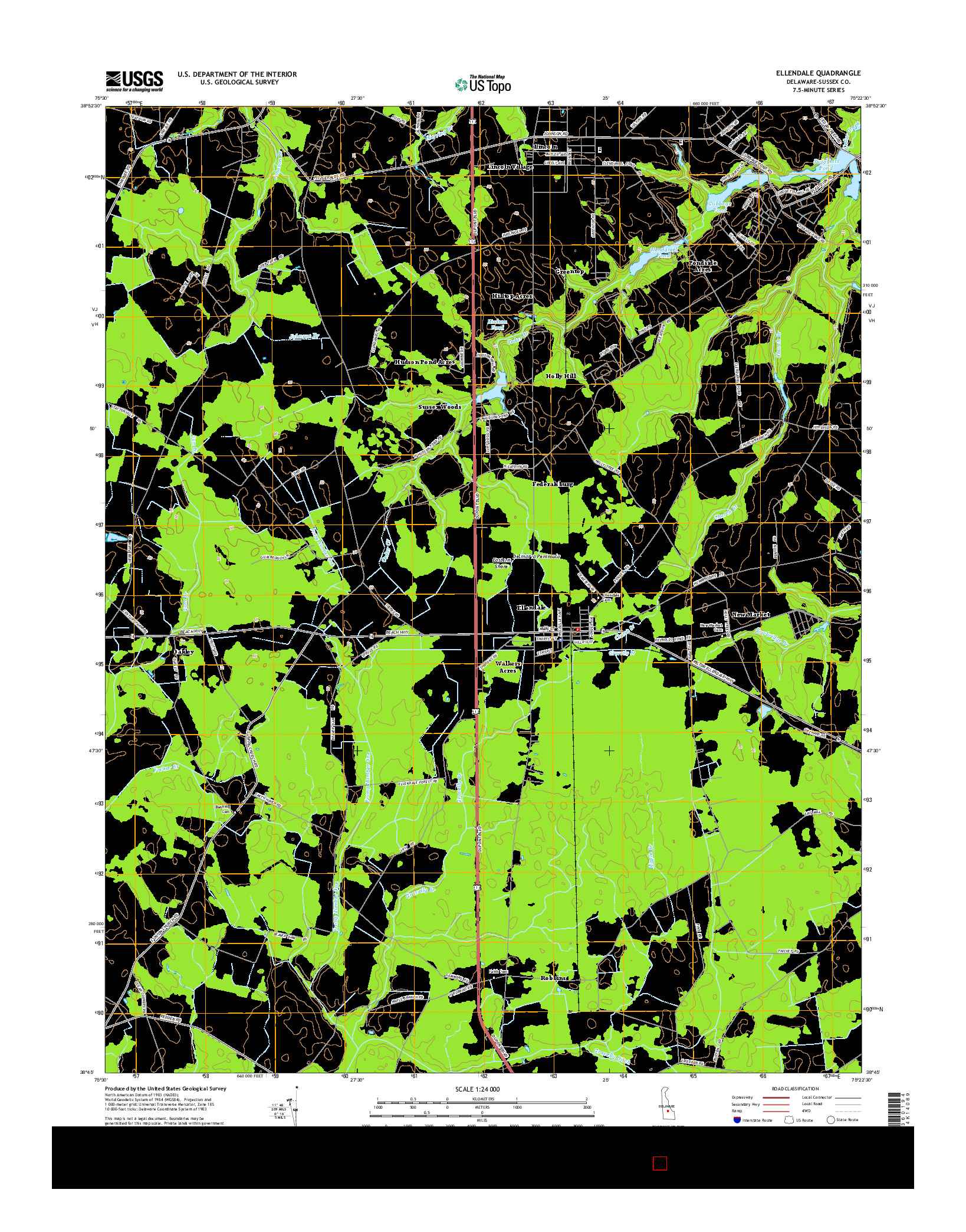 USGS US TOPO 7.5-MINUTE MAP FOR ELLENDALE, DE 2014