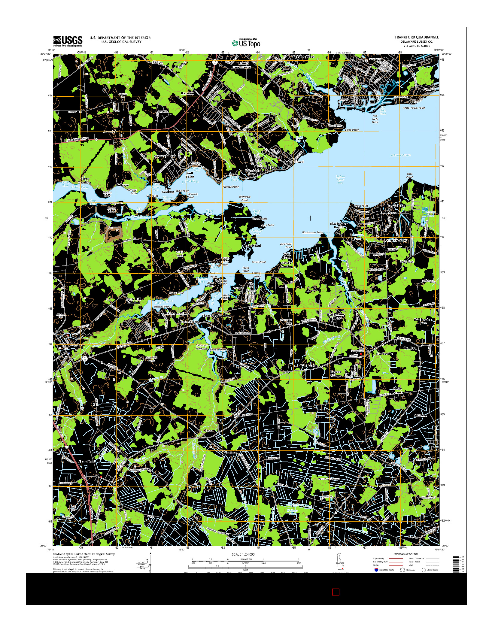 USGS US TOPO 7.5-MINUTE MAP FOR FRANKFORD, DE 2014