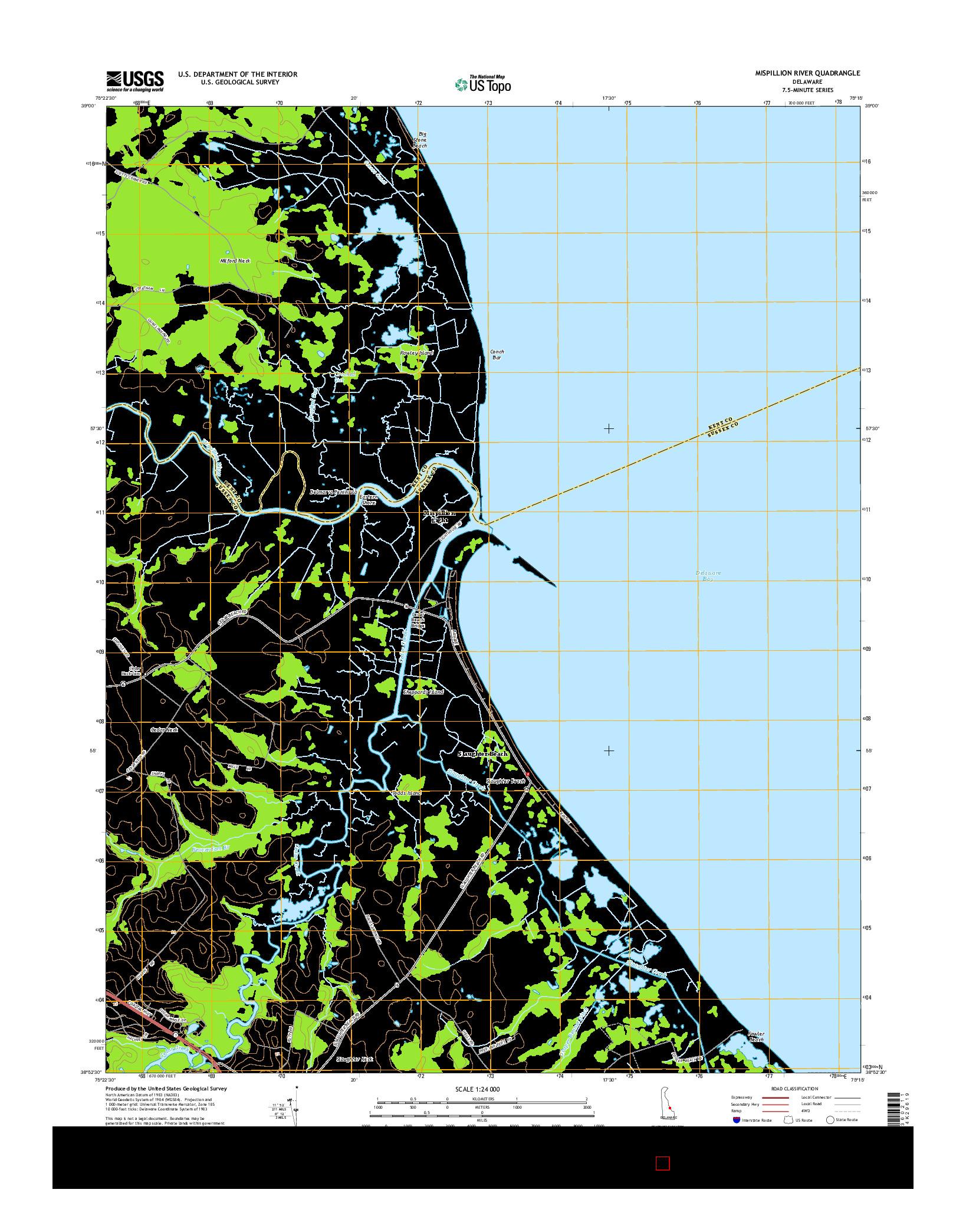 USGS US TOPO 7.5-MINUTE MAP FOR MISPILLION RIVER, DE 2014