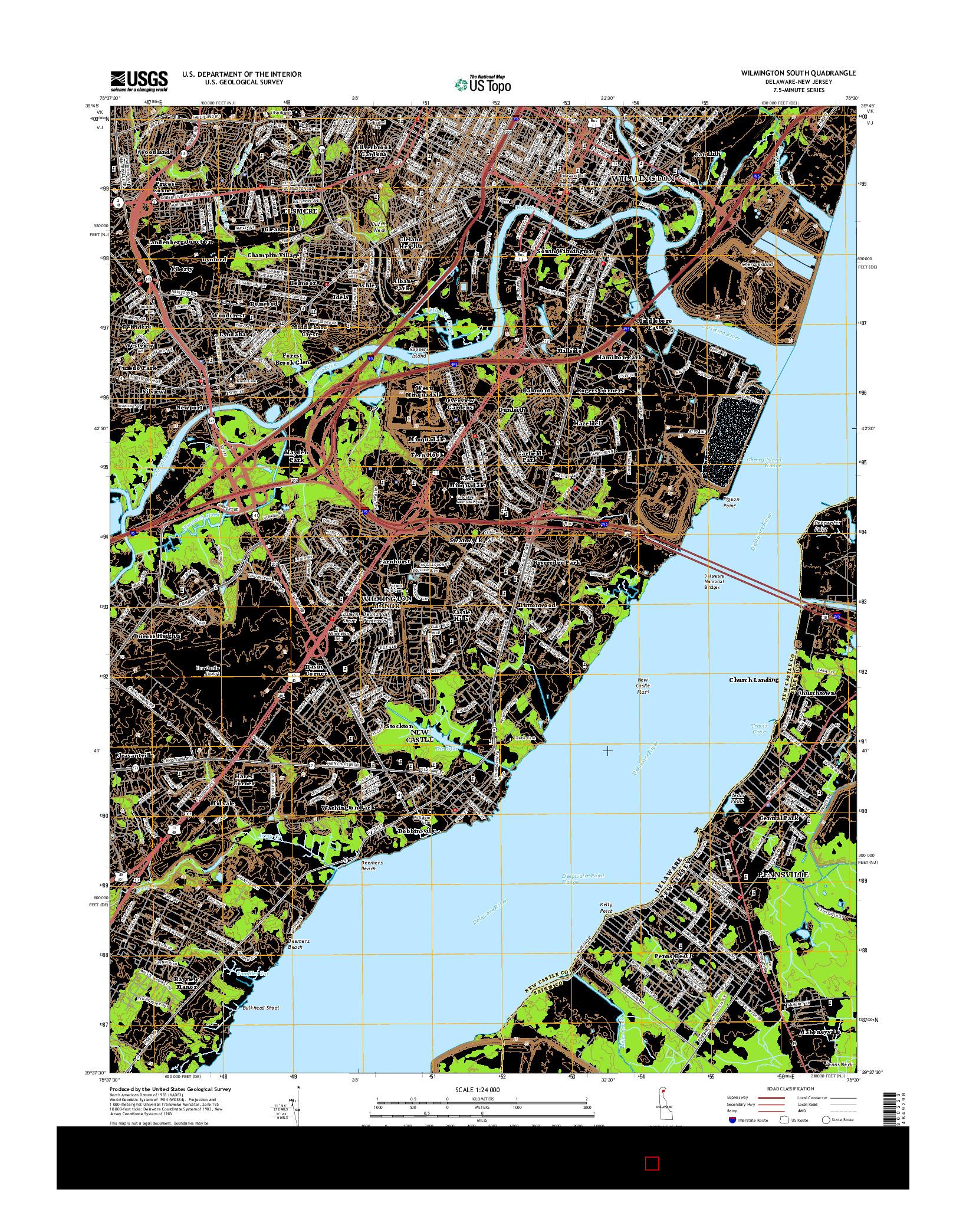 USGS US TOPO 7.5-MINUTE MAP FOR WILMINGTON SOUTH, DE-NJ 2014