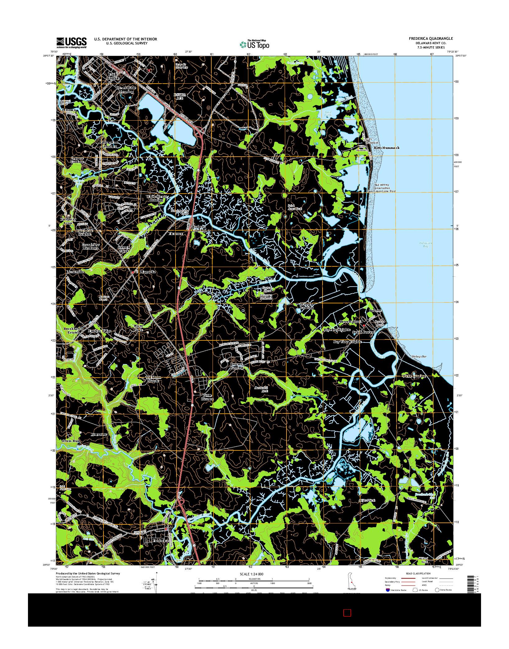 USGS US TOPO 7.5-MINUTE MAP FOR FREDERICA, DE 2014
