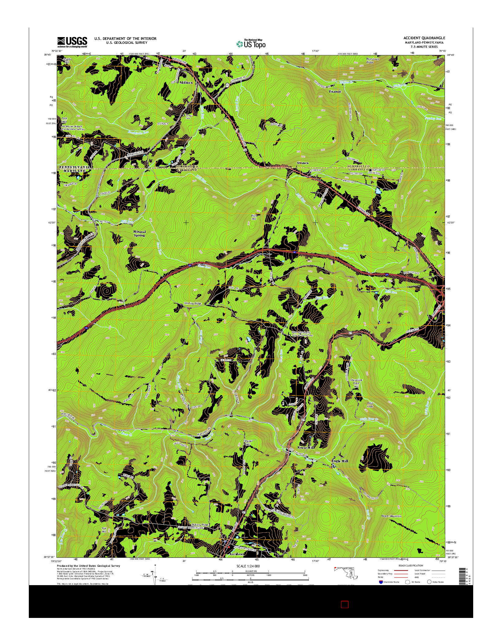 USGS US TOPO 7.5-MINUTE MAP FOR ACCIDENT, MD-PA 2014