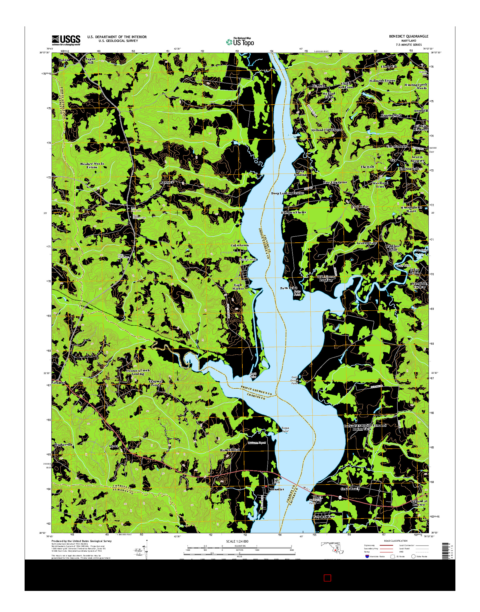 USGS US TOPO 7.5-MINUTE MAP FOR BENEDICT, MD 2014