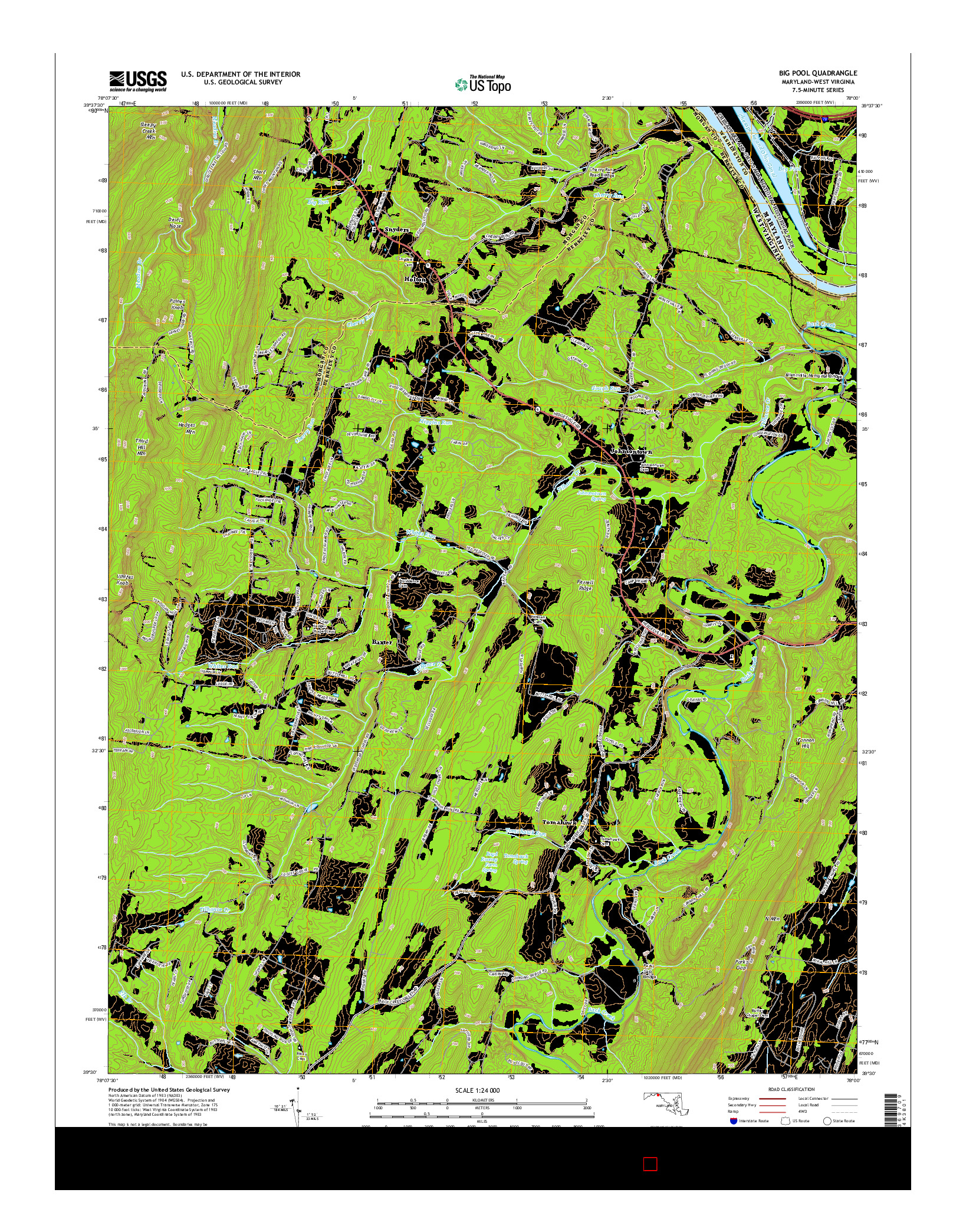 USGS US TOPO 7.5-MINUTE MAP FOR BIG POOL, MD-WV 2014