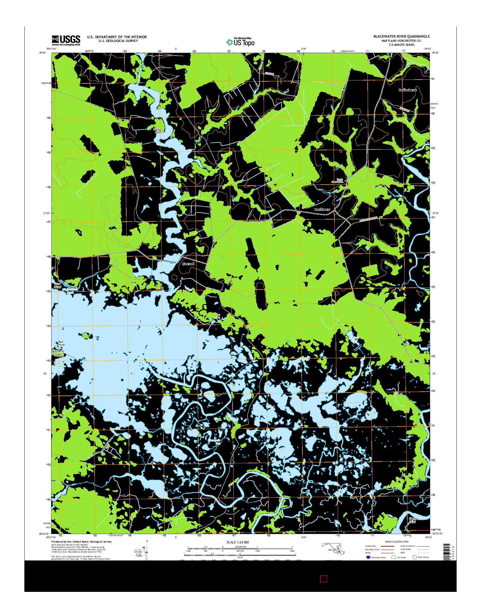 USGS US TOPO 7.5-MINUTE MAP FOR BLACKWATER RIVER, MD 2014