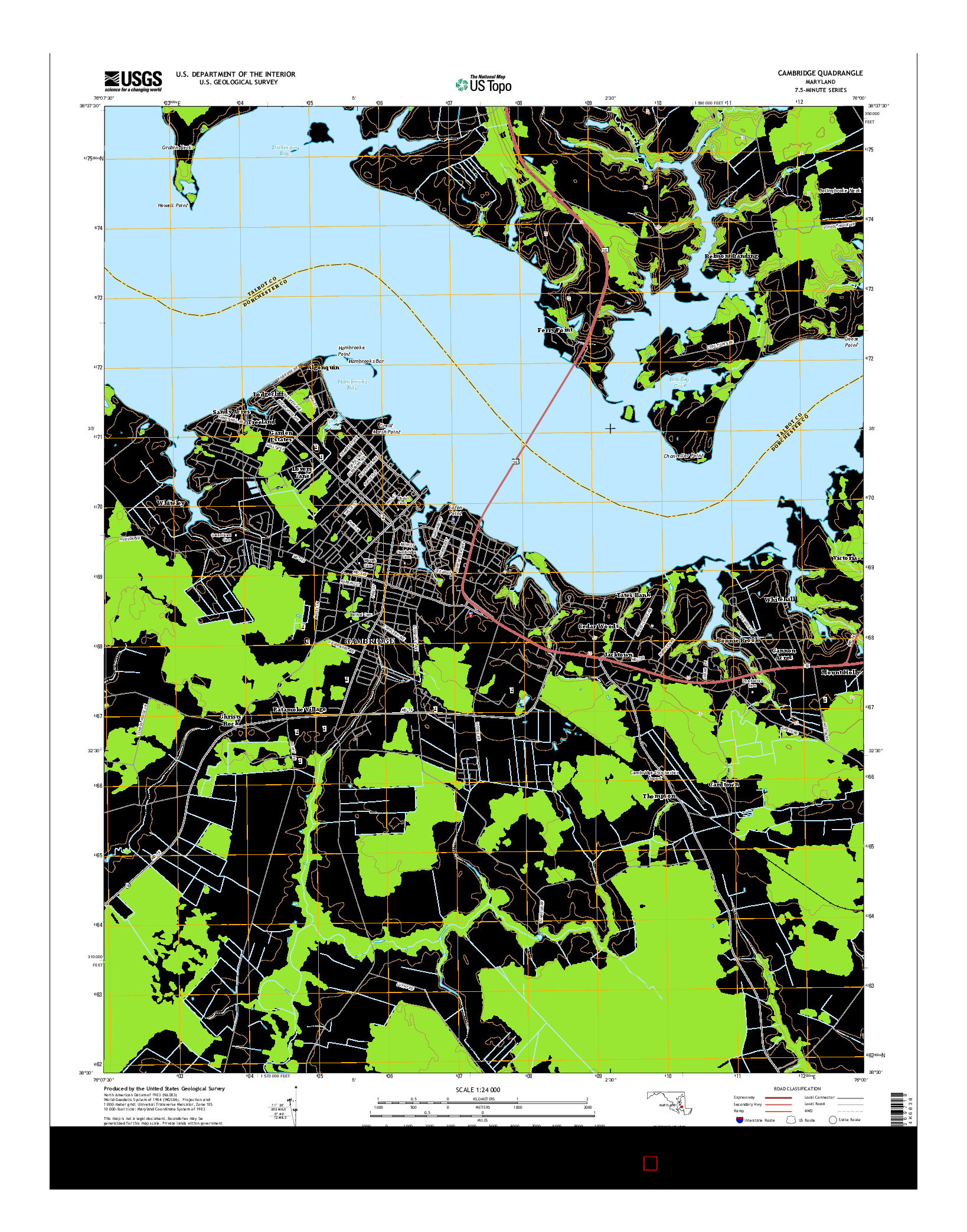 USGS US TOPO 7.5-MINUTE MAP FOR CAMBRIDGE, MD 2014