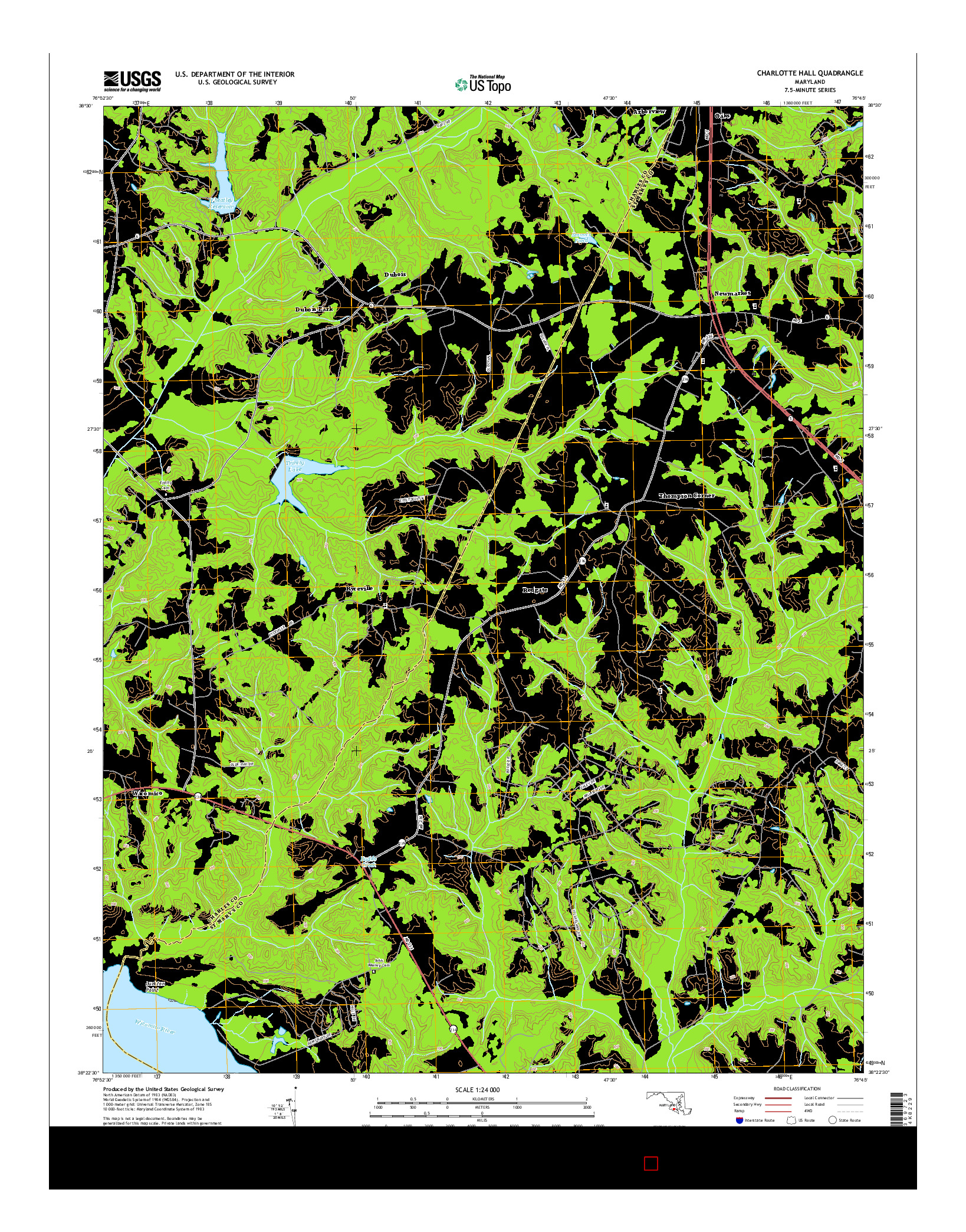 USGS US TOPO 7.5-MINUTE MAP FOR CHARLOTTE HALL, MD 2014