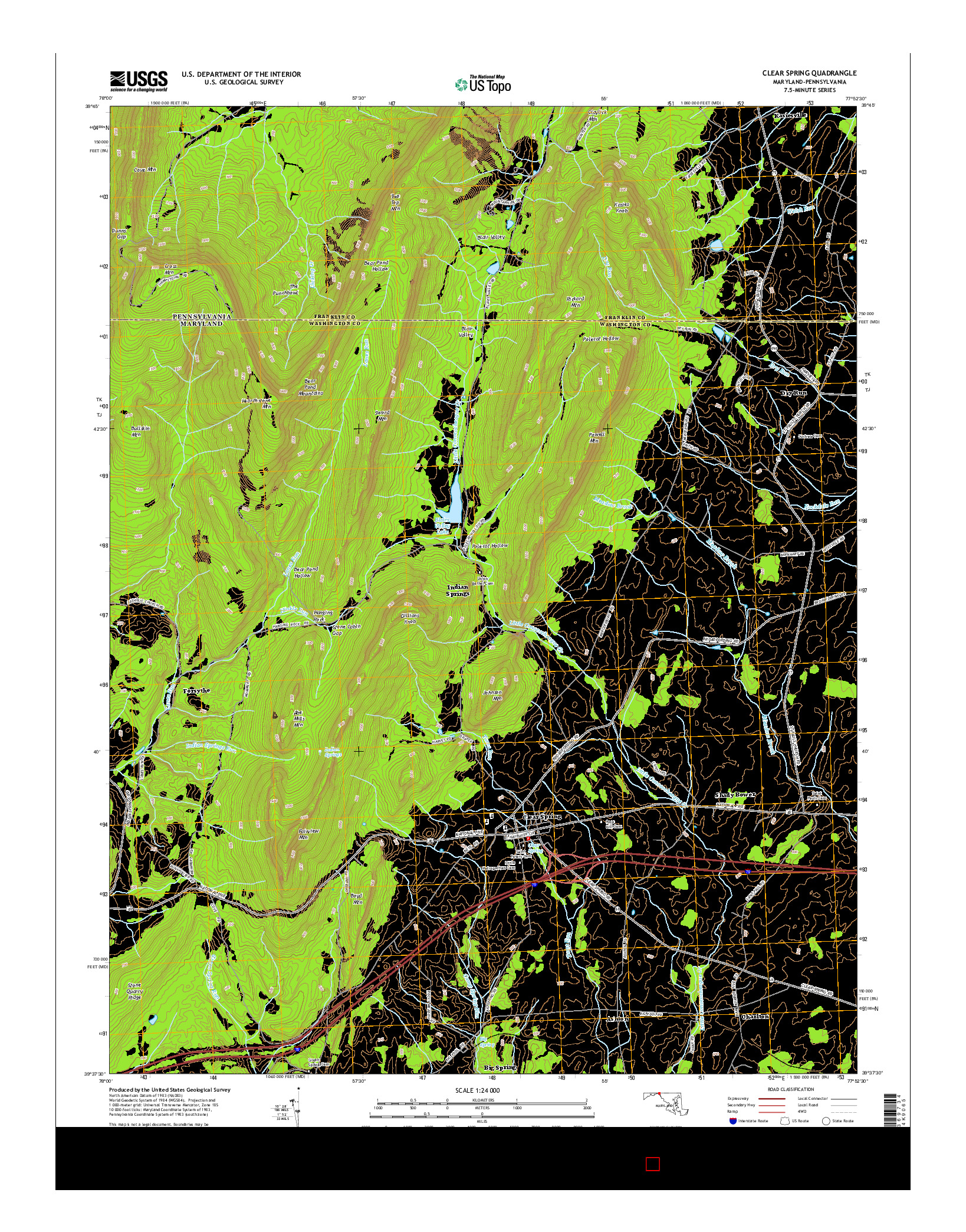 USGS US TOPO 7.5-MINUTE MAP FOR CLEAR SPRING, MD-PA 2014