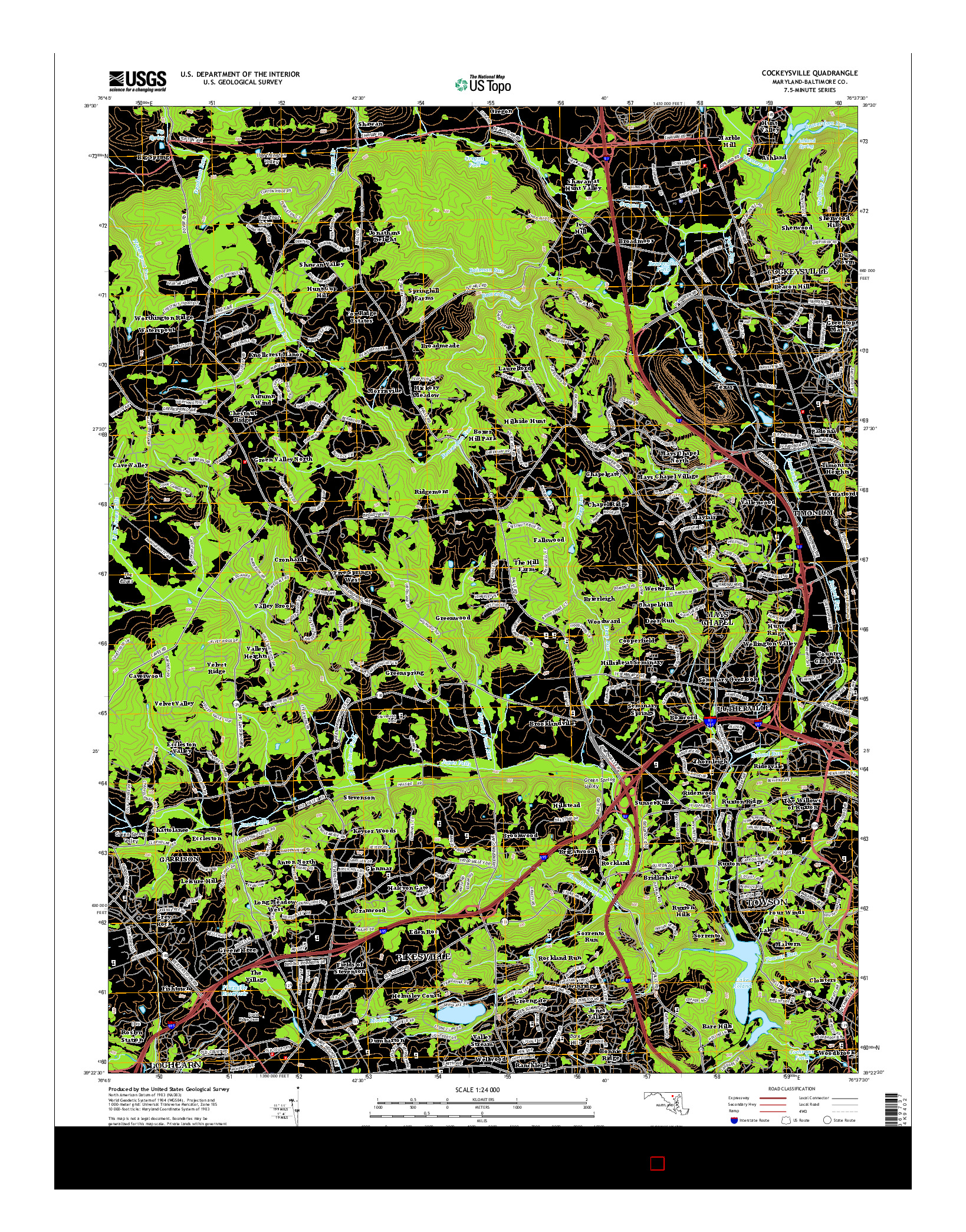 USGS US TOPO 7.5-MINUTE MAP FOR COCKEYSVILLE, MD 2014