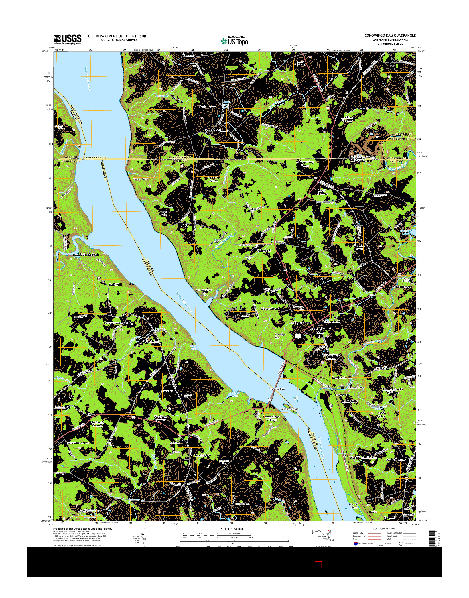 USGS US TOPO 7.5-MINUTE MAP FOR CONOWINGO DAM, MD-PA 2014