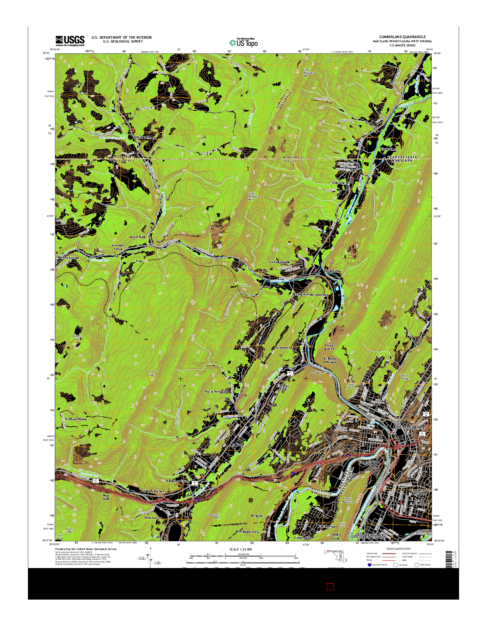 USGS US TOPO 7.5-MINUTE MAP FOR CUMBERLAND, MD-PA-WV 2014