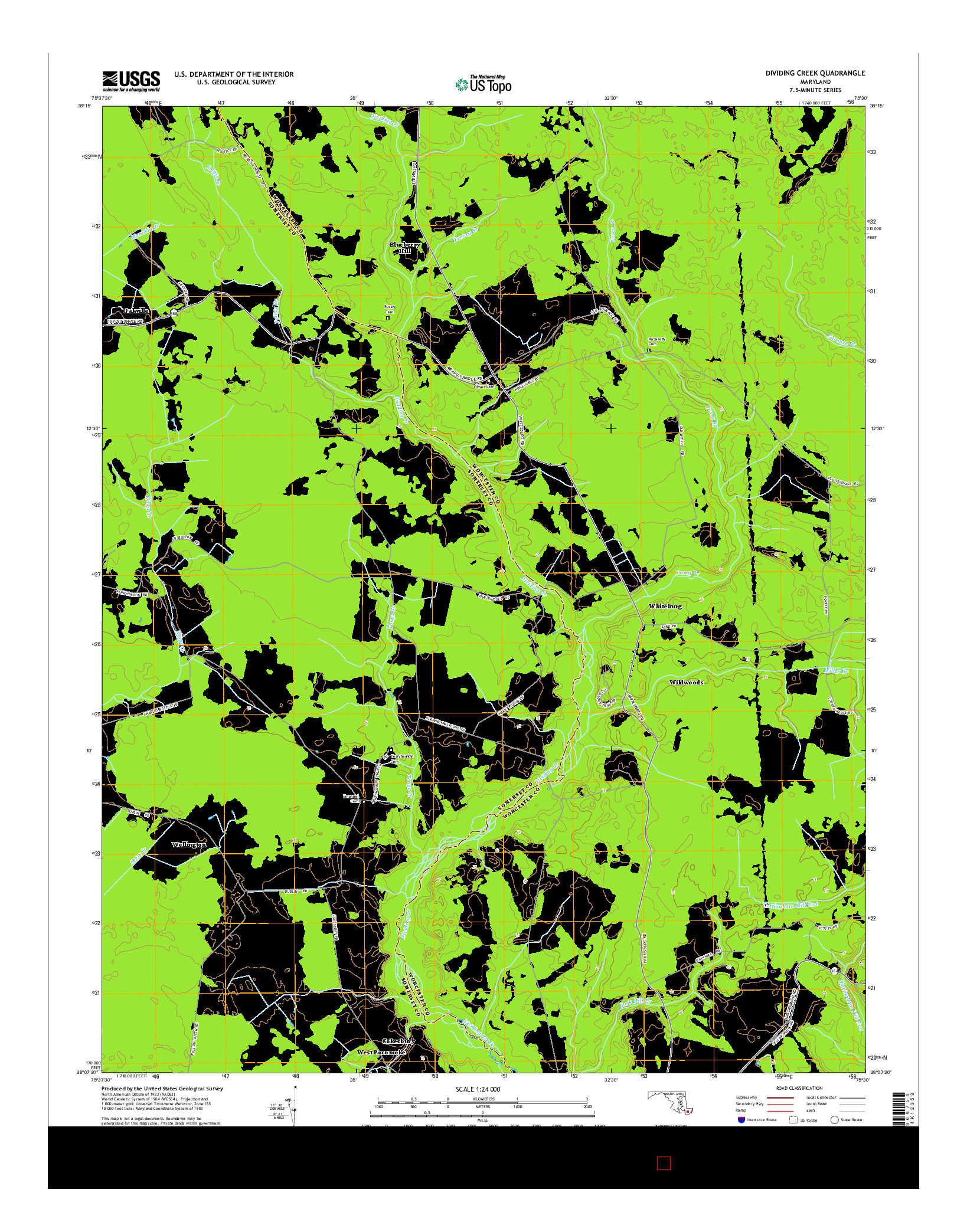 USGS US TOPO 7.5-MINUTE MAP FOR DIVIDING CREEK, MD 2014