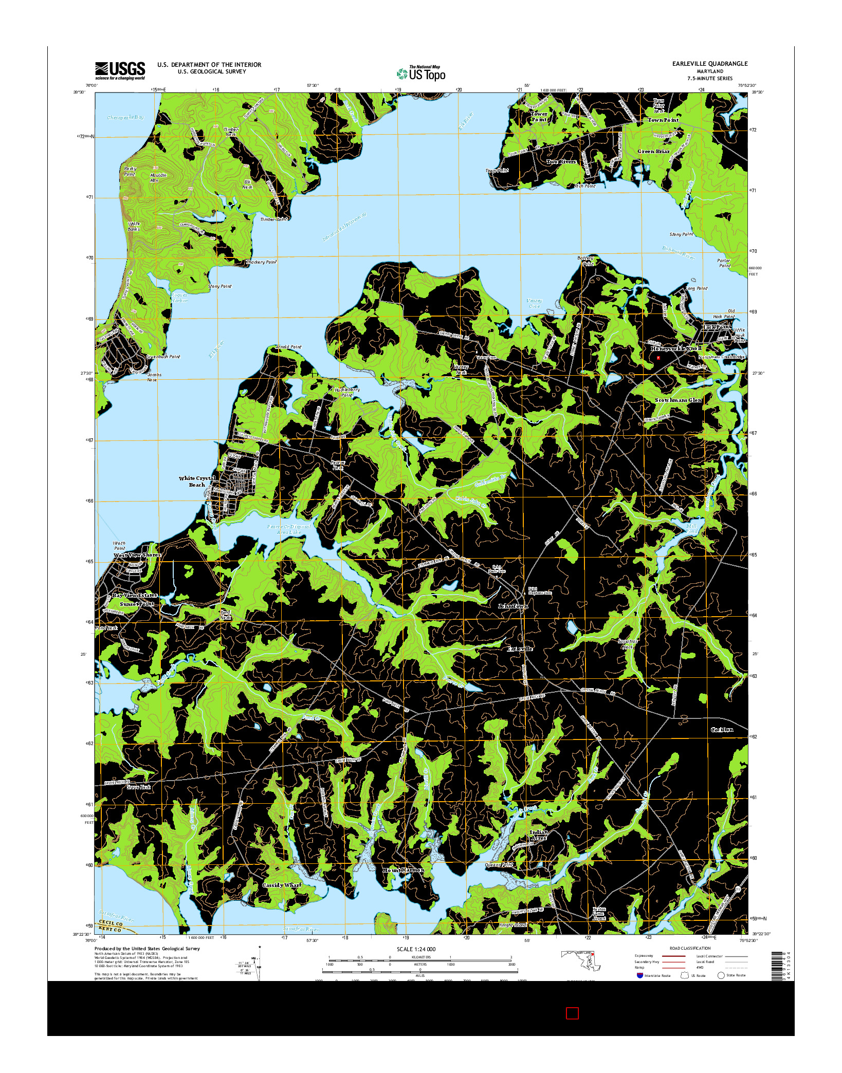 USGS US TOPO 7.5-MINUTE MAP FOR EARLEVILLE, MD 2014