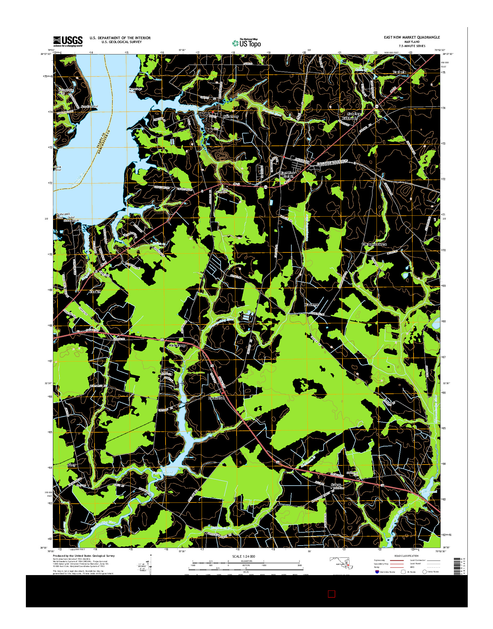 USGS US TOPO 7.5-MINUTE MAP FOR EAST NEW MARKET, MD 2014