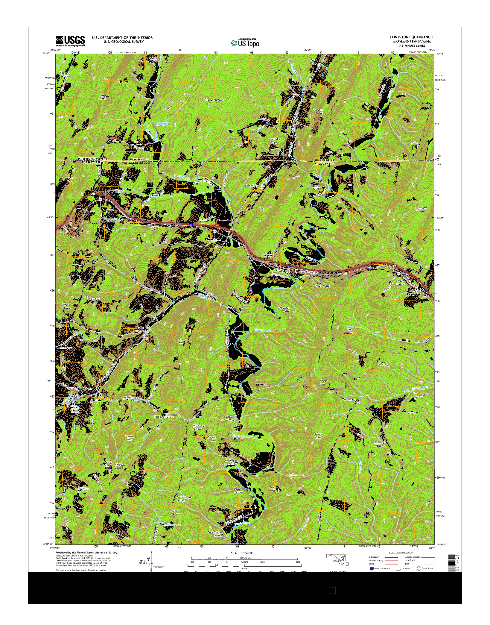 USGS US TOPO 7.5-MINUTE MAP FOR FLINTSTONE, MD-PA 2014