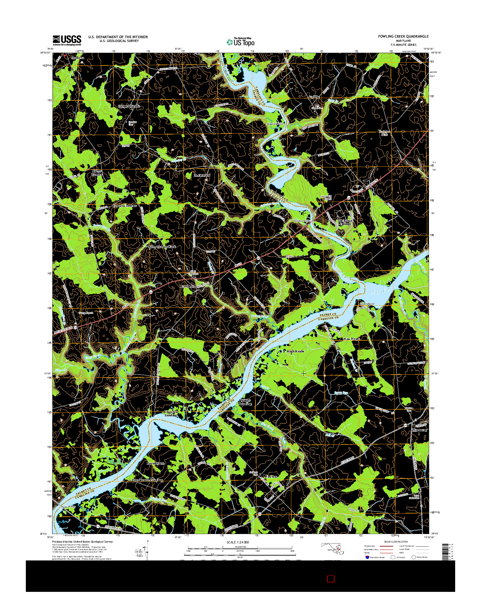 USGS US TOPO 7.5-MINUTE MAP FOR FOWLING CREEK, MD 2014