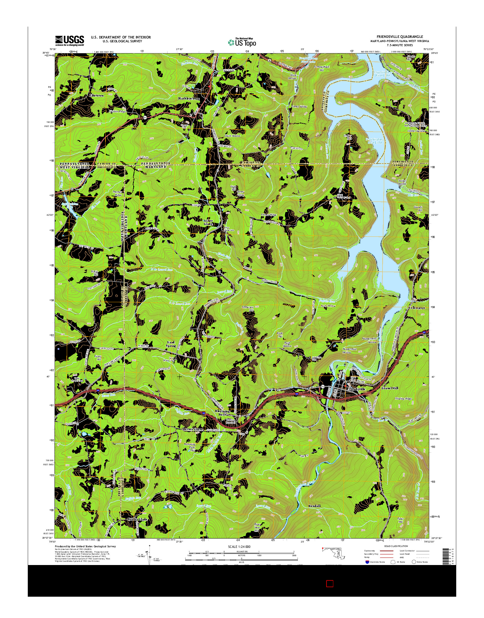 USGS US TOPO 7.5-MINUTE MAP FOR FRIENDSVILLE, MD-PA-WV 2014