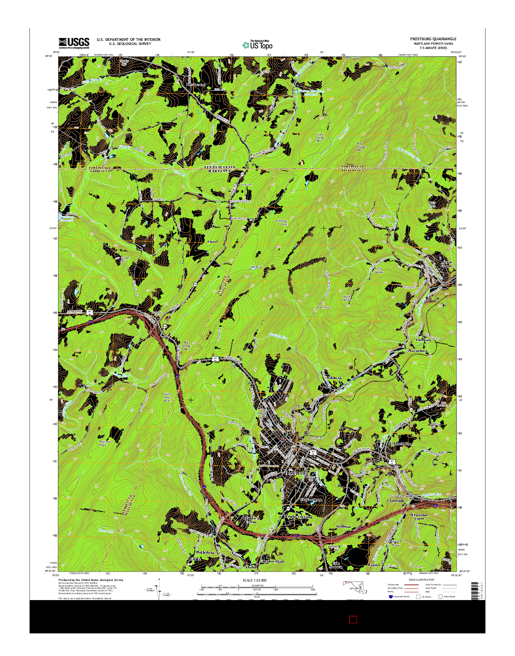 USGS US TOPO 7.5-MINUTE MAP FOR FROSTBURG, MD-PA 2014