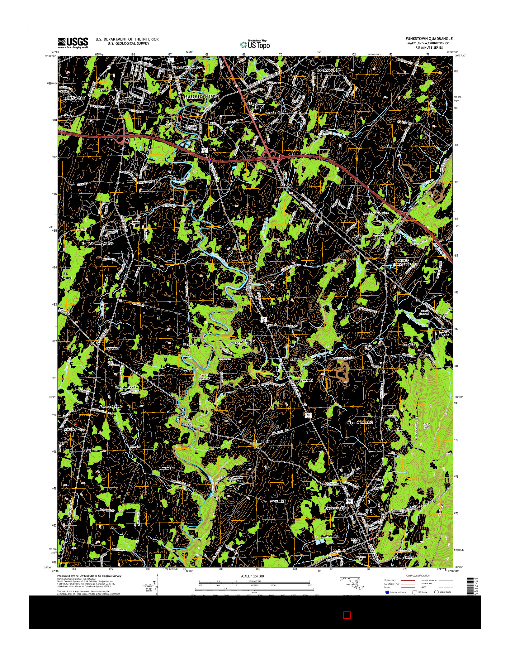 USGS US TOPO 7.5-MINUTE MAP FOR FUNKSTOWN, MD 2014