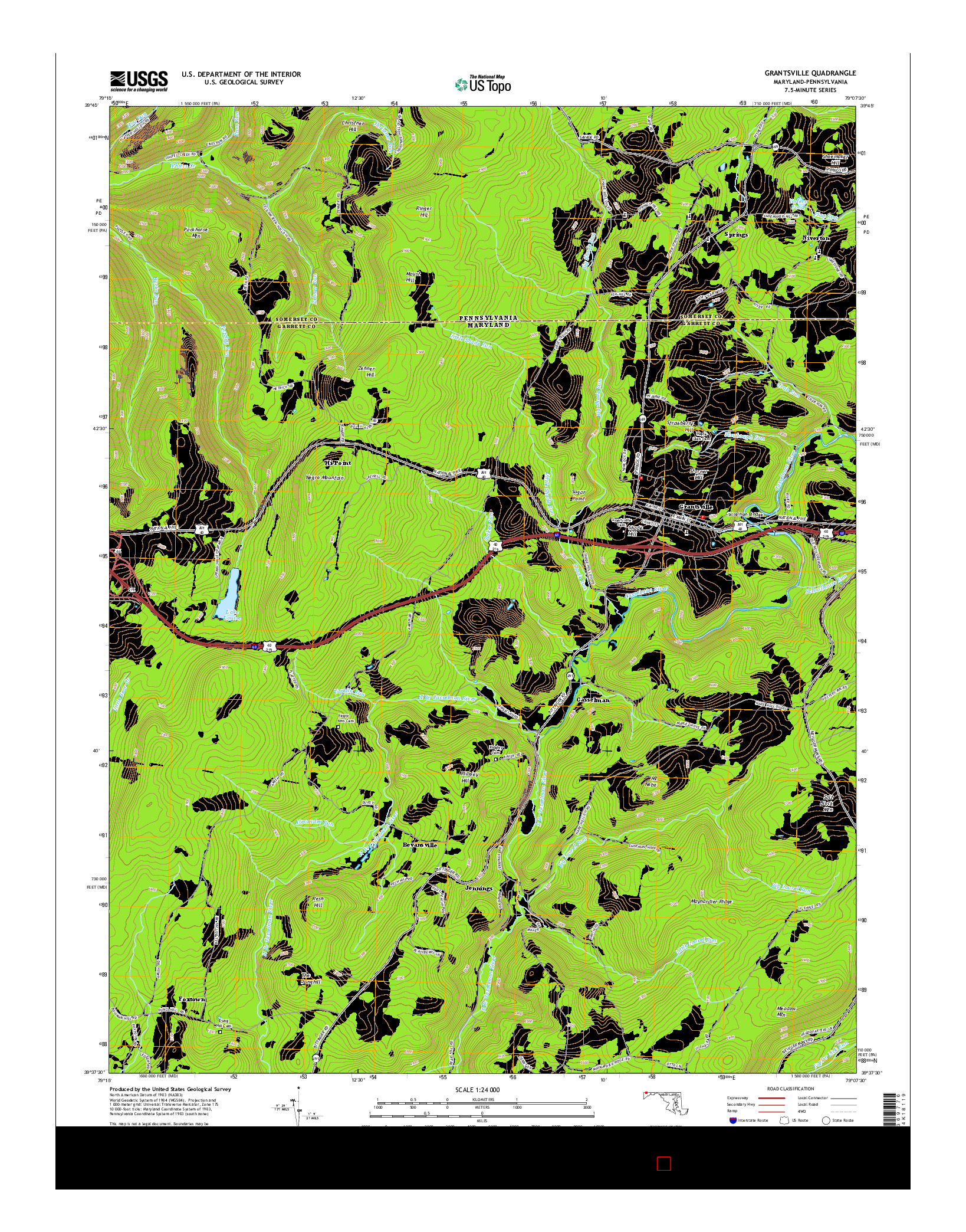 USGS US TOPO 7.5-MINUTE MAP FOR GRANTSVILLE, MD-PA 2014