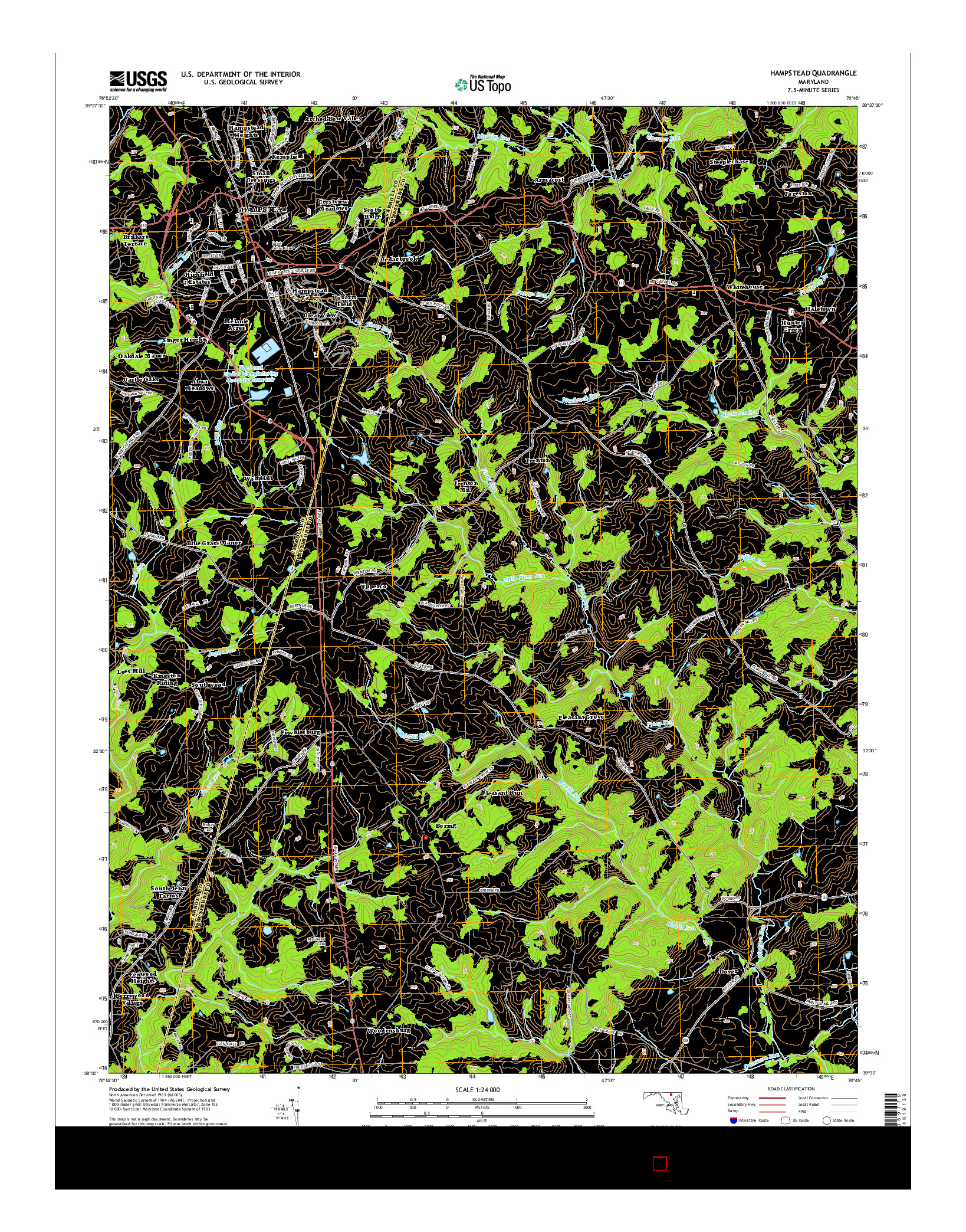 USGS US TOPO 7.5-MINUTE MAP FOR HAMPSTEAD, MD 2014