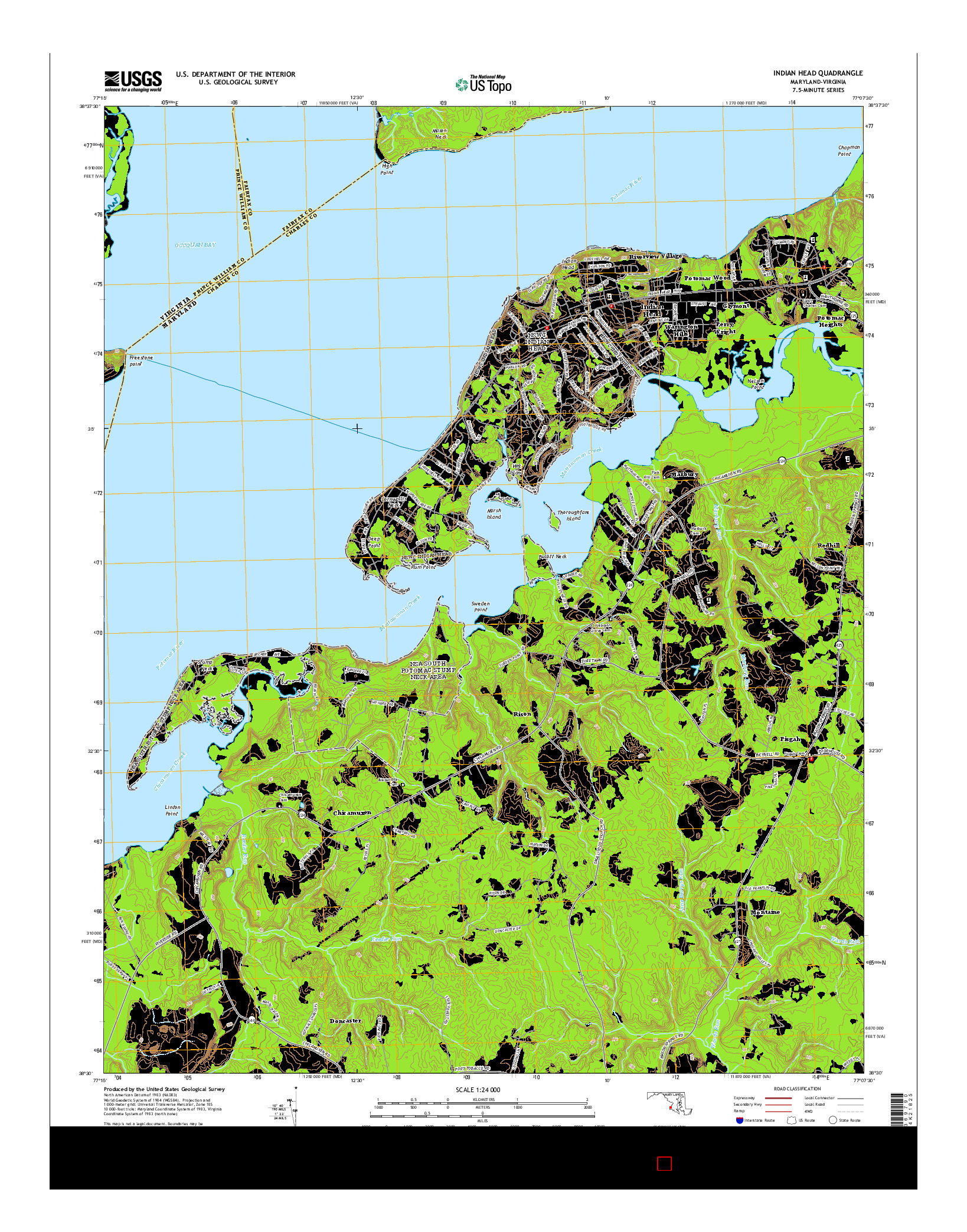 USGS US TOPO 7.5-MINUTE MAP FOR INDIAN HEAD, MD-VA 2014