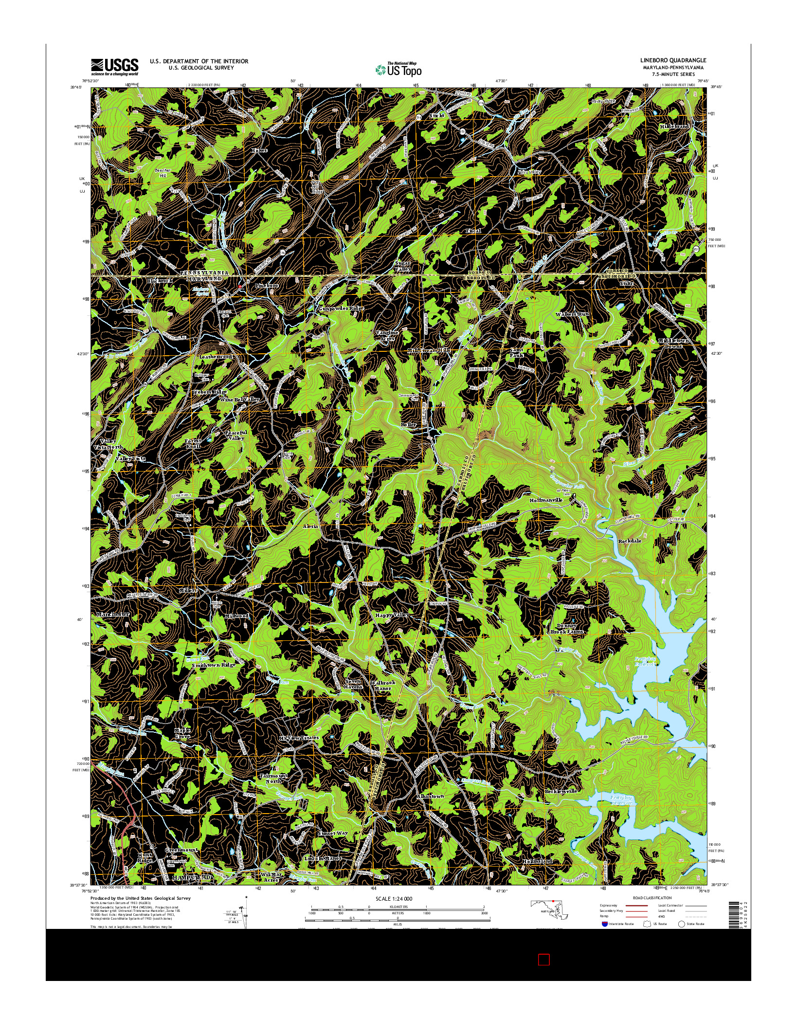 USGS US TOPO 7.5-MINUTE MAP FOR LINEBORO, MD-PA 2014