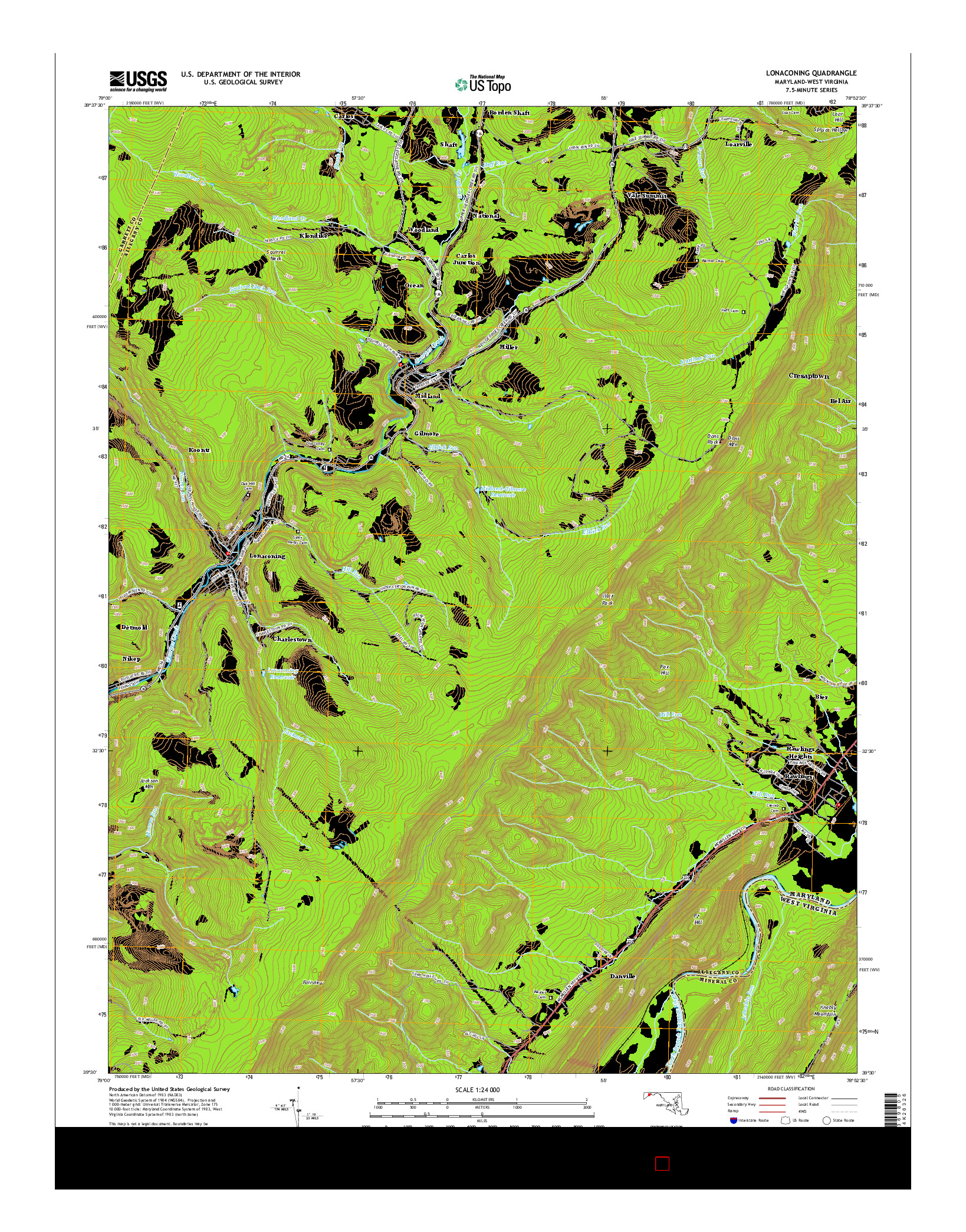 USGS US TOPO 7.5-MINUTE MAP FOR LONACONING, MD-WV 2014
