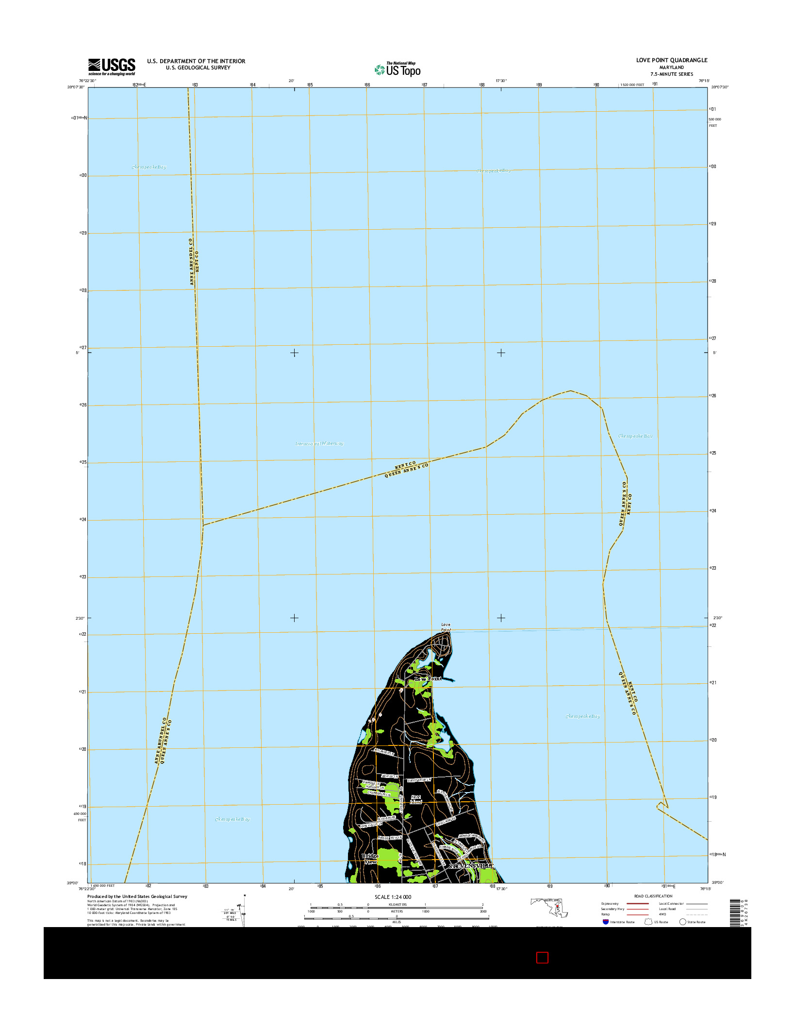 USGS US TOPO 7.5-MINUTE MAP FOR LOVE POINT, MD 2014