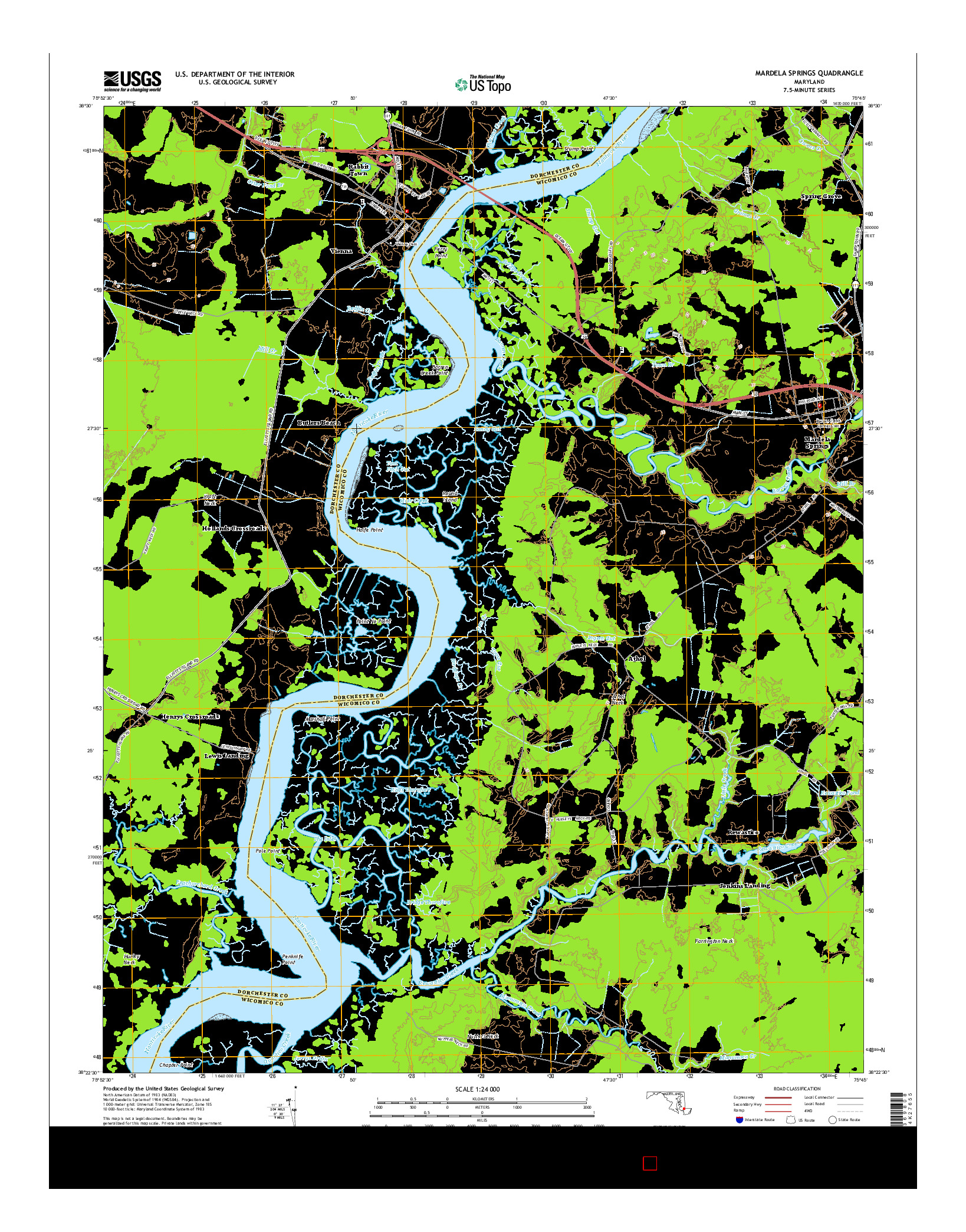 USGS US TOPO 7.5-MINUTE MAP FOR MARDELA SPRINGS, MD 2014