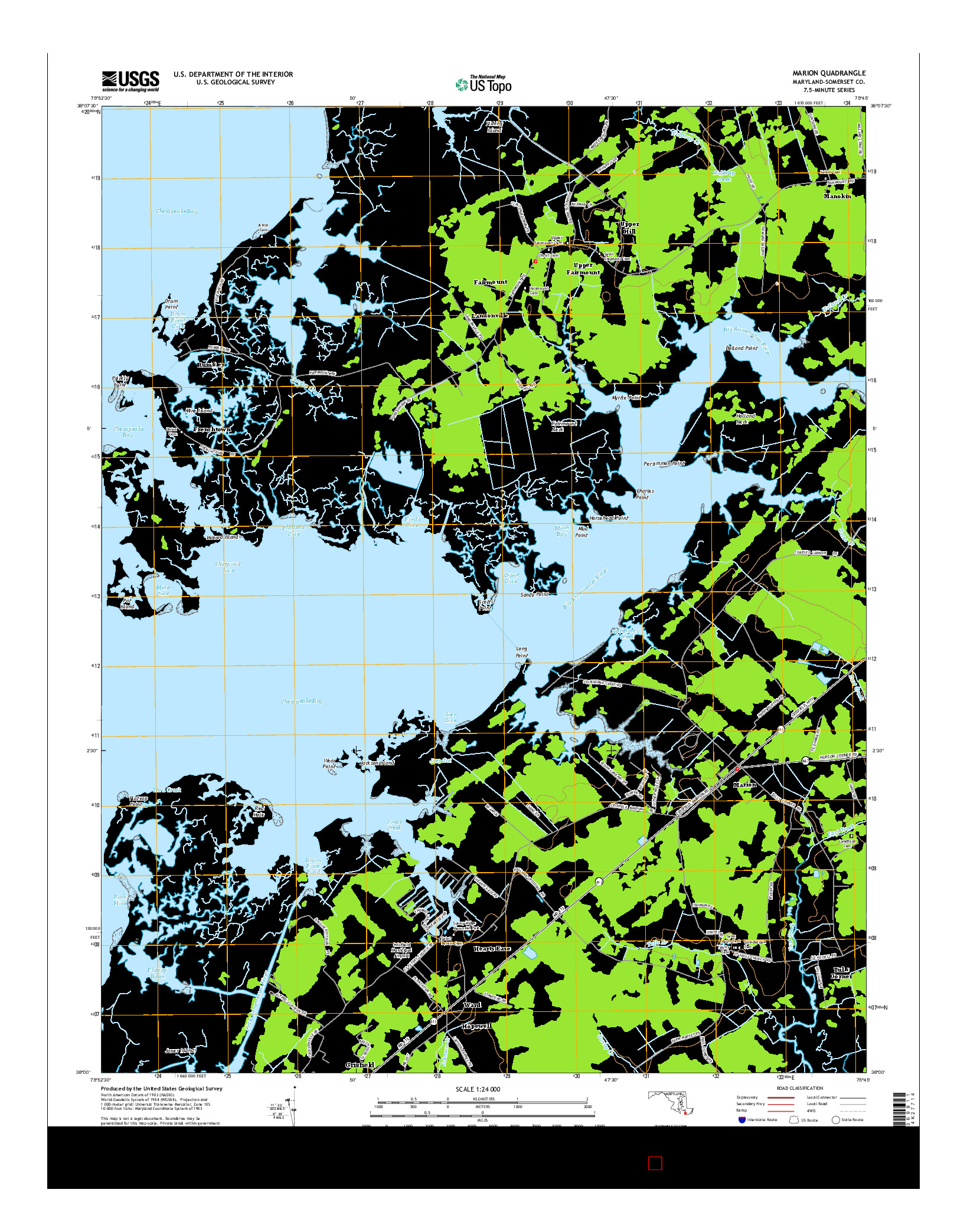 USGS US TOPO 7.5-MINUTE MAP FOR MARION, MD 2014