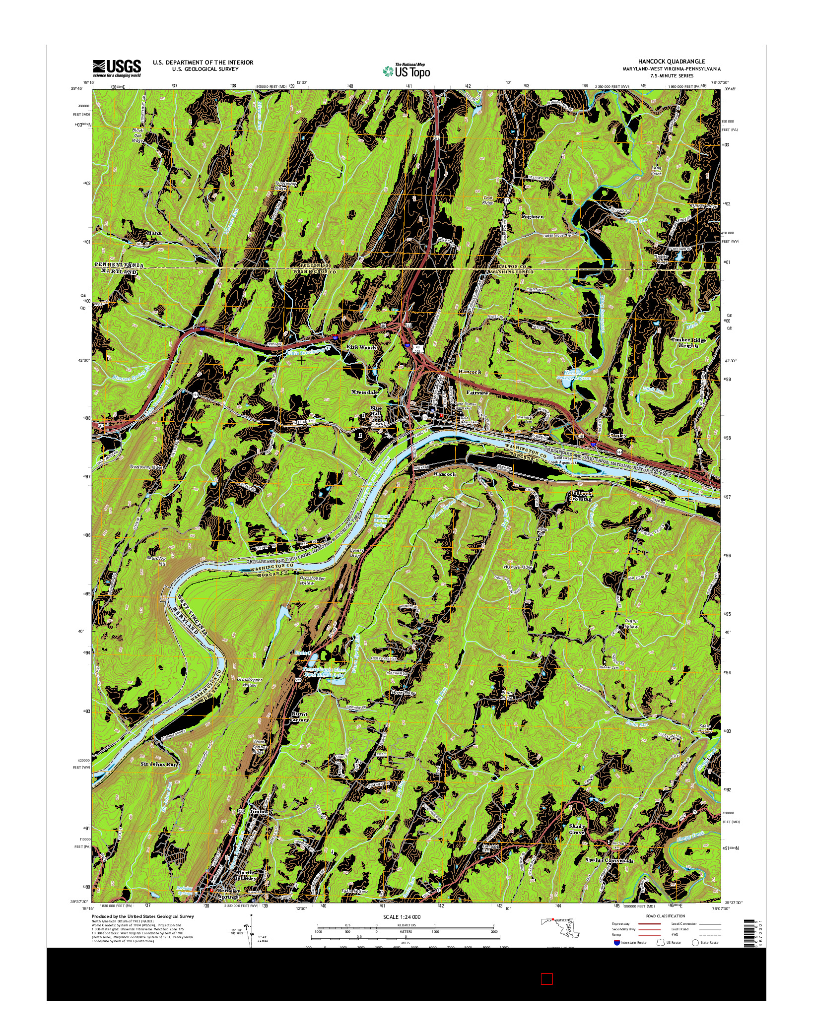 USGS US TOPO 7.5-MINUTE MAP FOR HANCOCK, MD-WV-PA 2014