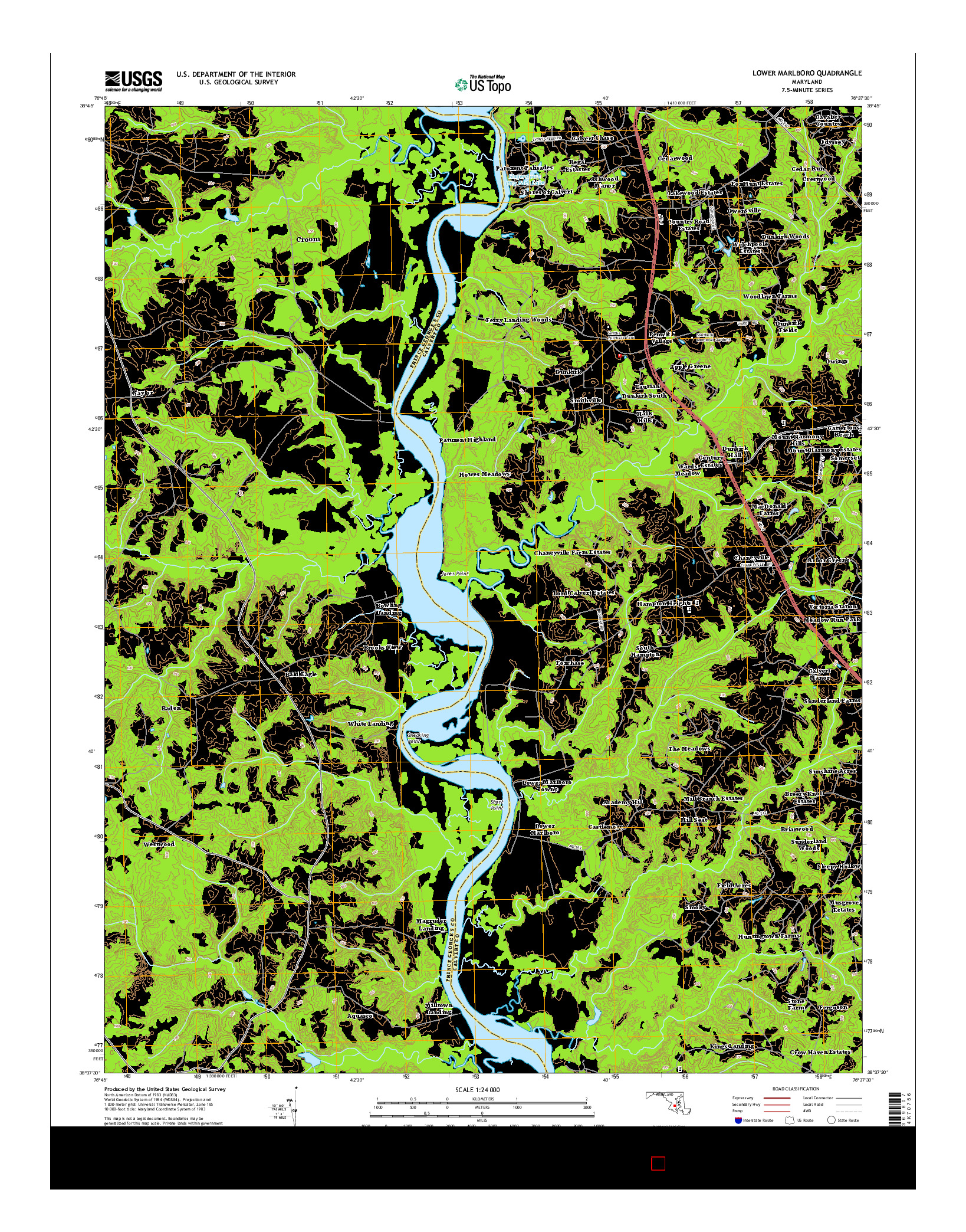 USGS US TOPO 7.5-MINUTE MAP FOR LOWER MARLBORO, MD 2014