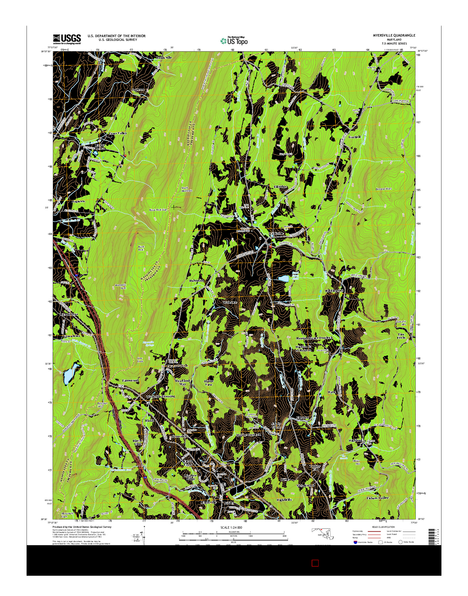 USGS US TOPO 7.5-MINUTE MAP FOR MYERSVILLE, MD 2014