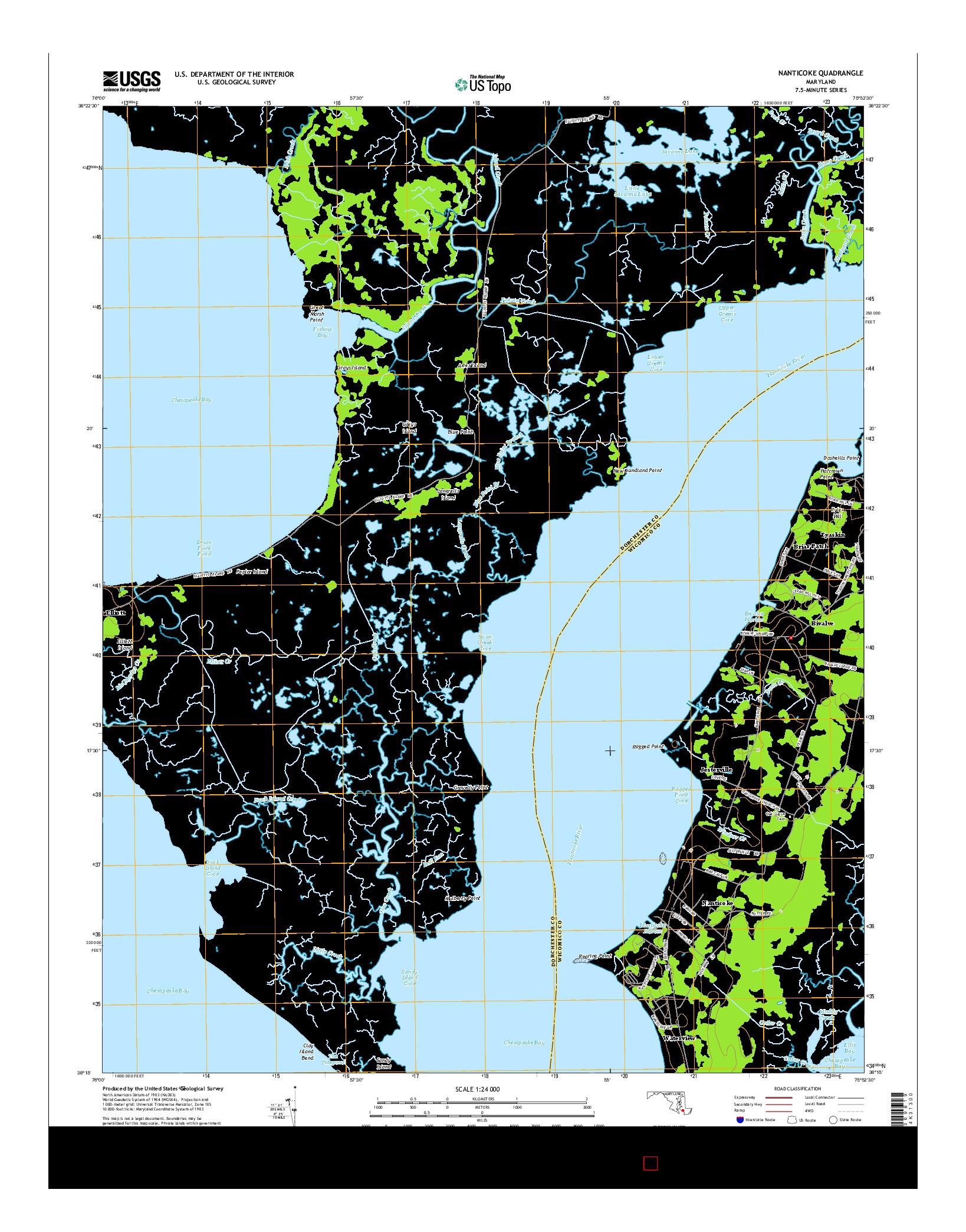 USGS US TOPO 7.5-MINUTE MAP FOR NANTICOKE, MD 2014