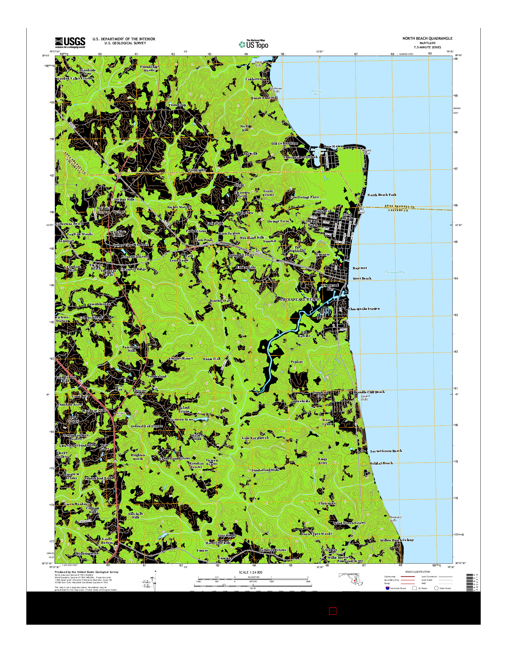 USGS US TOPO 7.5-MINUTE MAP FOR NORTH BEACH, MD 2014